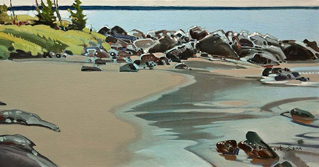 Point, Hornby, 12 x 24 inches, acrylic on canvas, 1995 @whiterockgallery #robertgenn #canadianart
