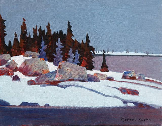 December, Lake Of The Woods (2014), 11 x 14 inches, acrylic on canvas @mayberryfineart #robertgenn #canadianart #lotw