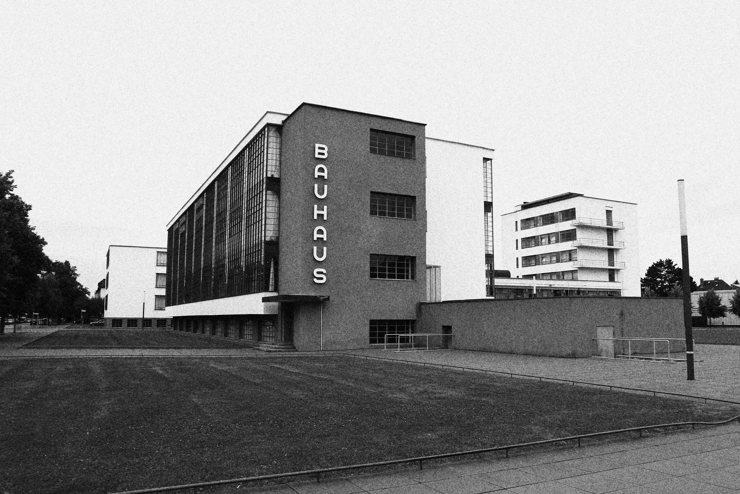 Sitting idle on a quiet street, the Bauhaus School