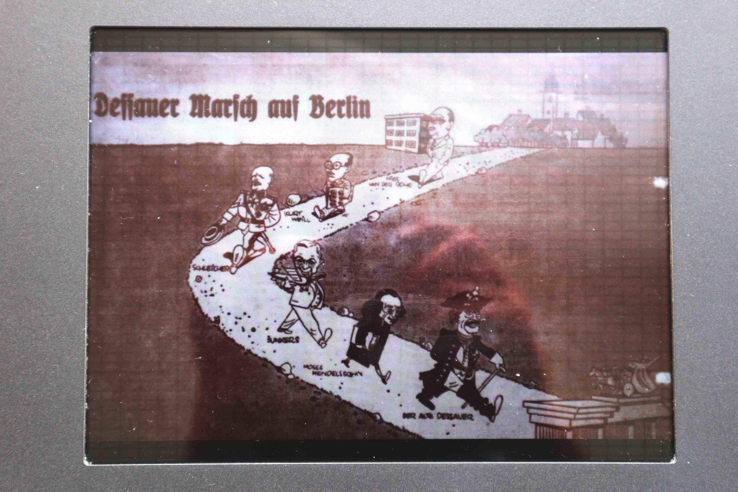 Nazi propaganda against Weimar liberals, spot Van Der Rohe at the back carrying the Bauhaus!
