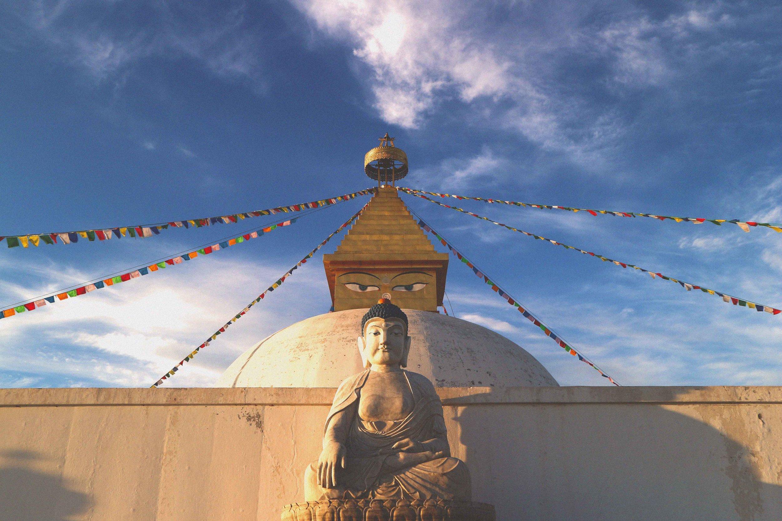 White stupe and Buddha eyes at the Amarbayasgalant Monastery