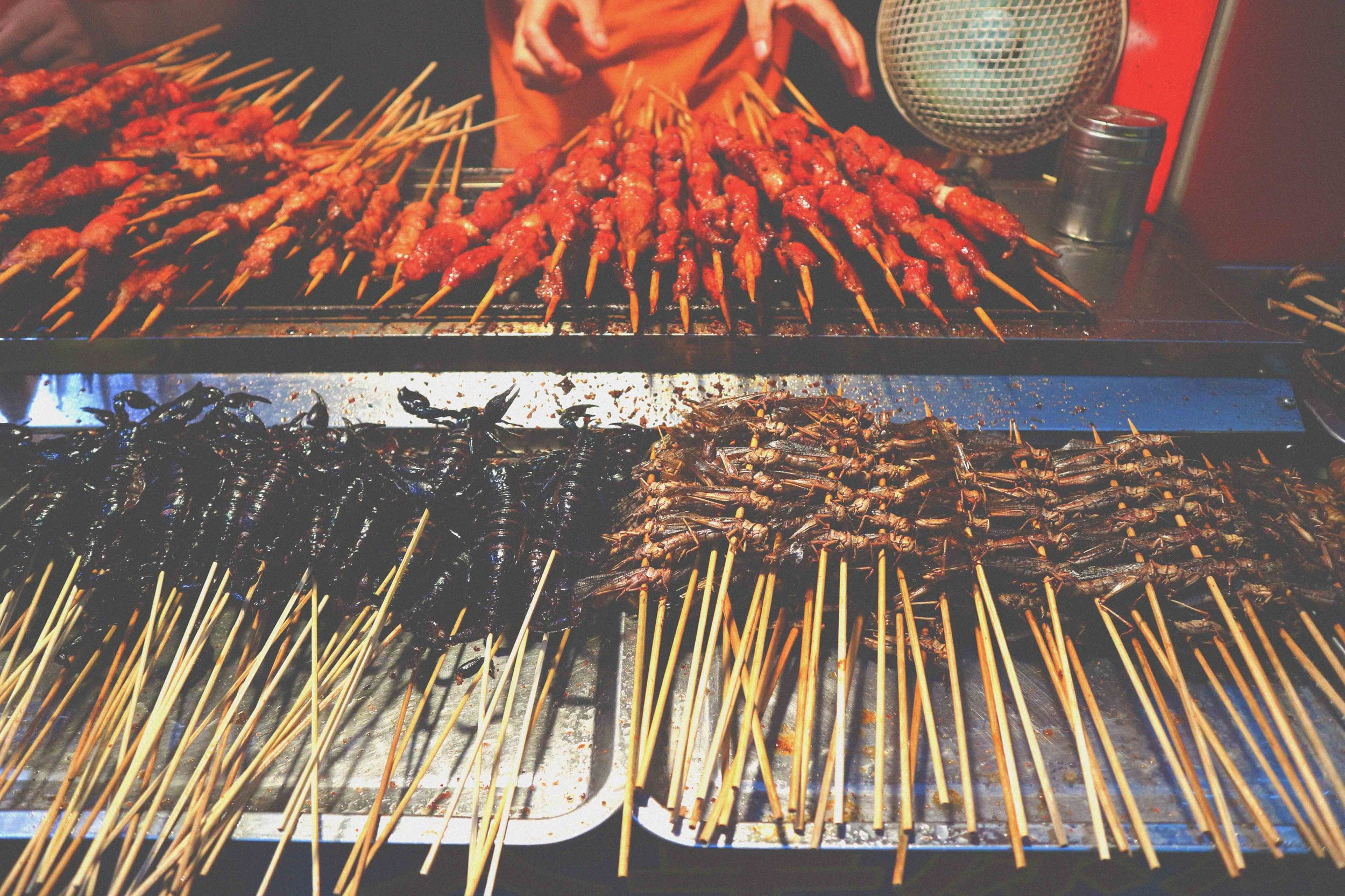 Street food at Wangfujing Dajie