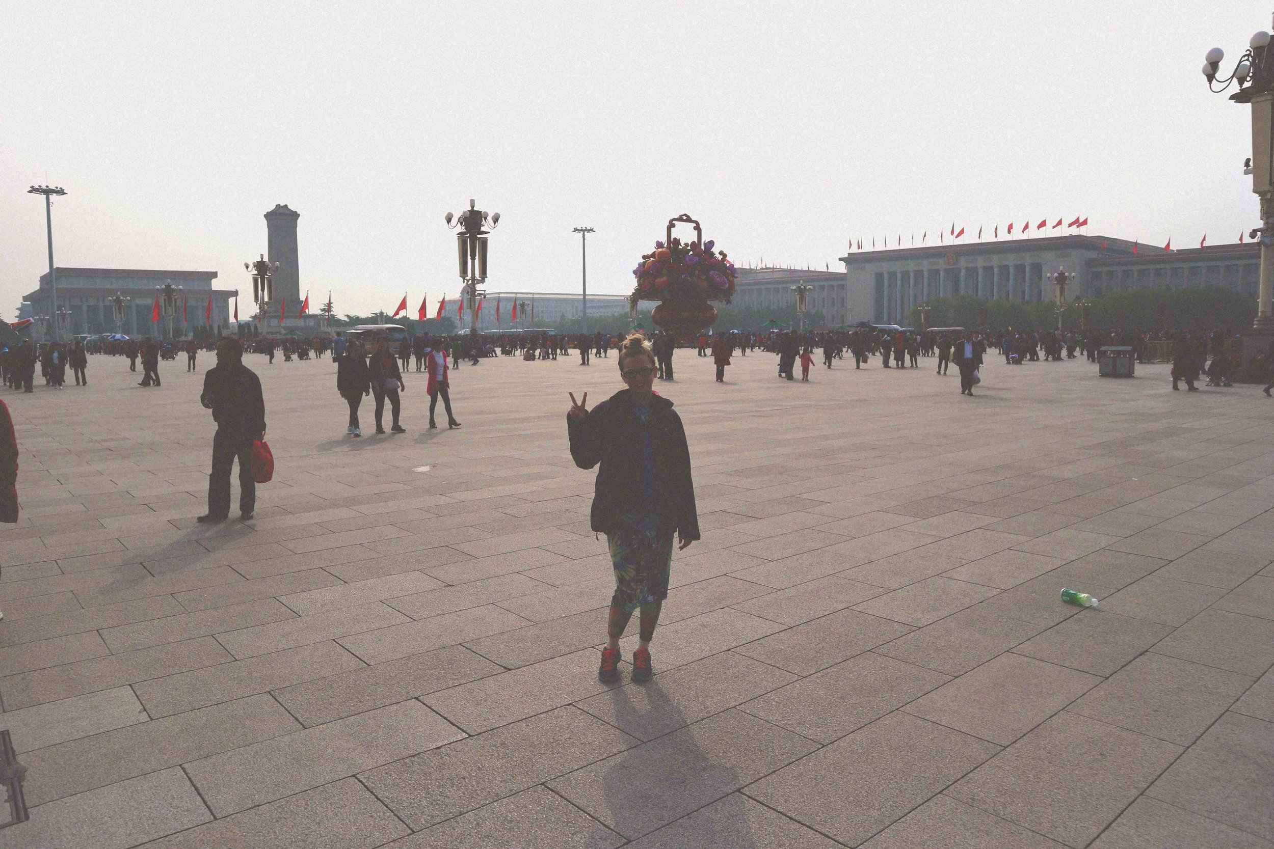 In the huge Tian'anmen Square