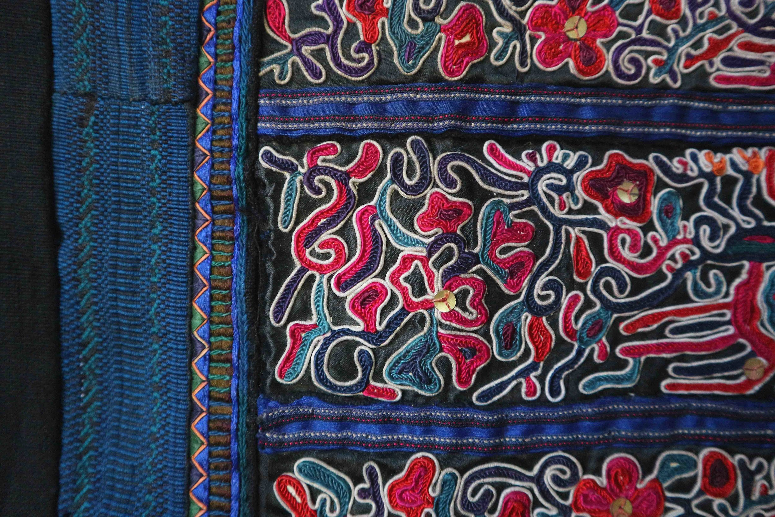 Double needle embroidery, made by the Dong minority