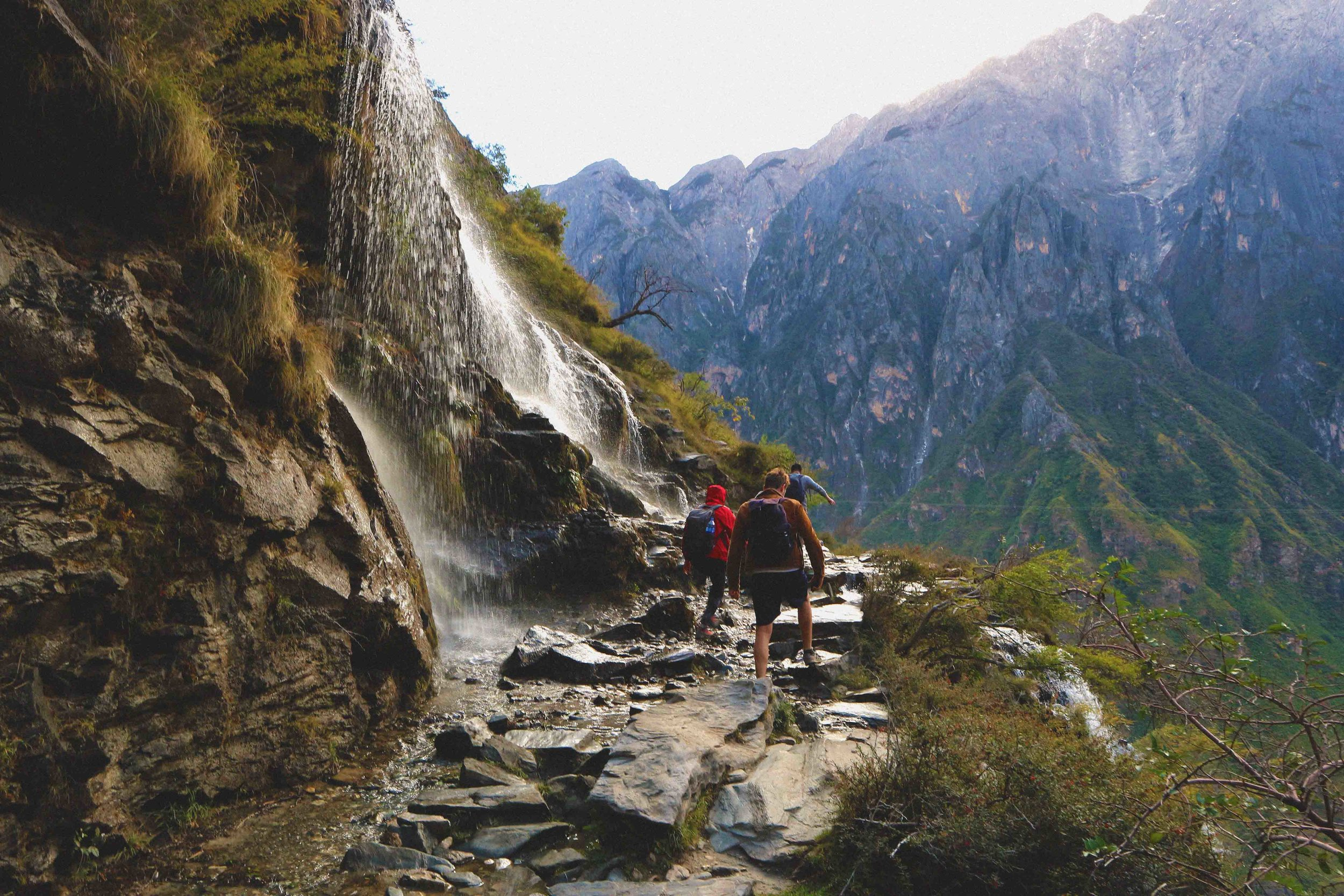 Passing a waterfall on the downward pass