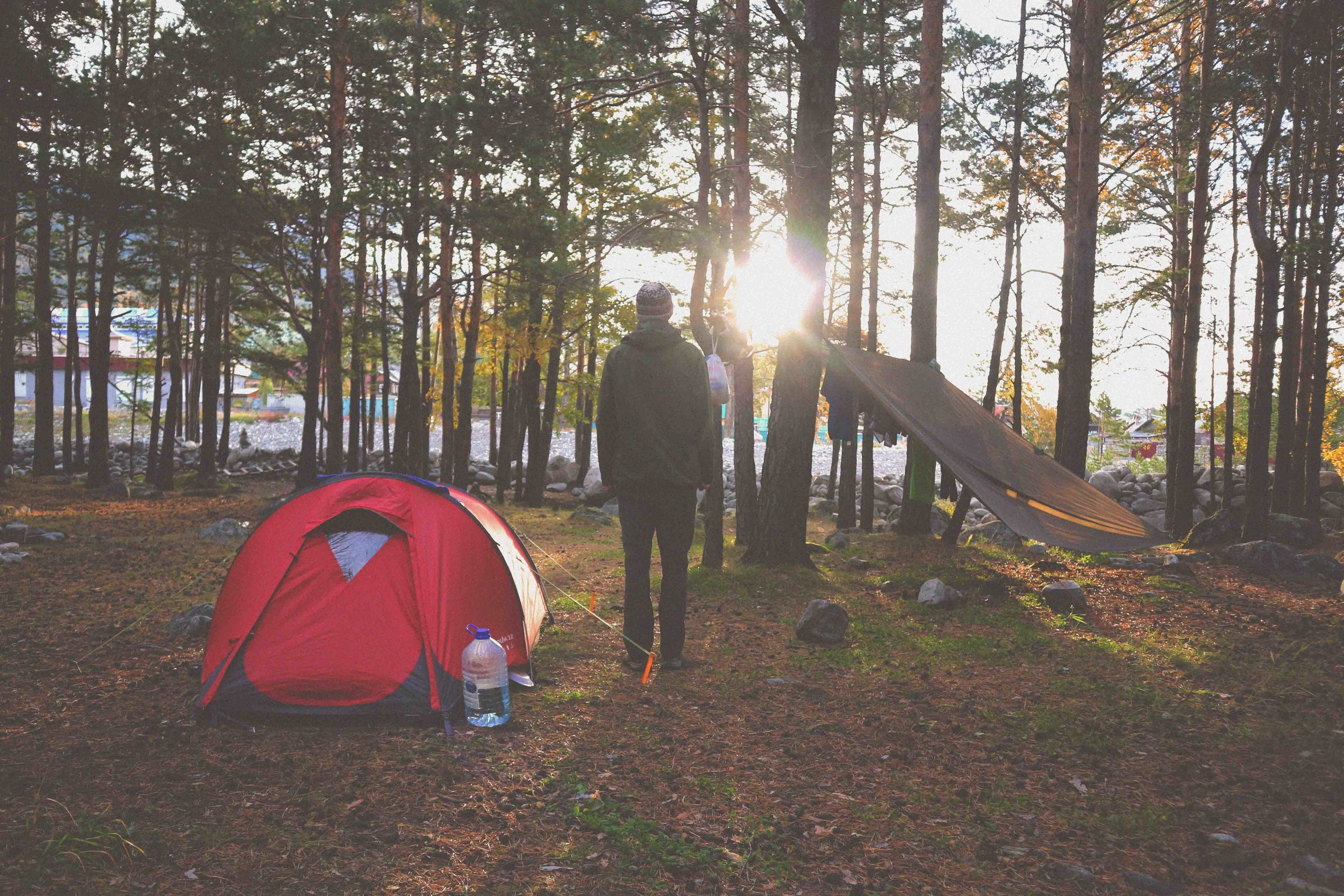 The joys of camping;waking up in the fresh outdoors in the middle of nature. by Studio Mali