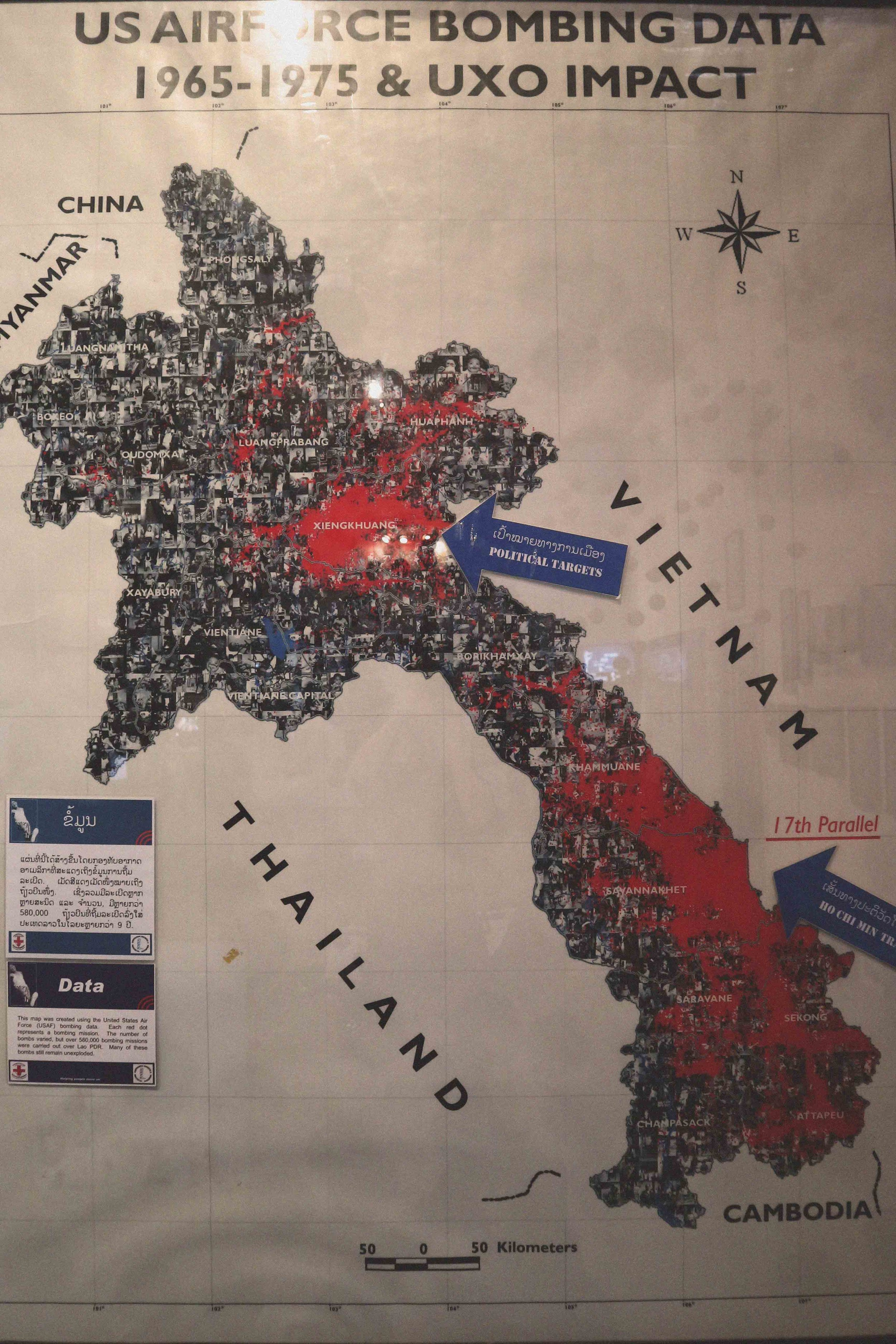 Red marks the places affected by US bomb strikes on Laos during the Vietnam war