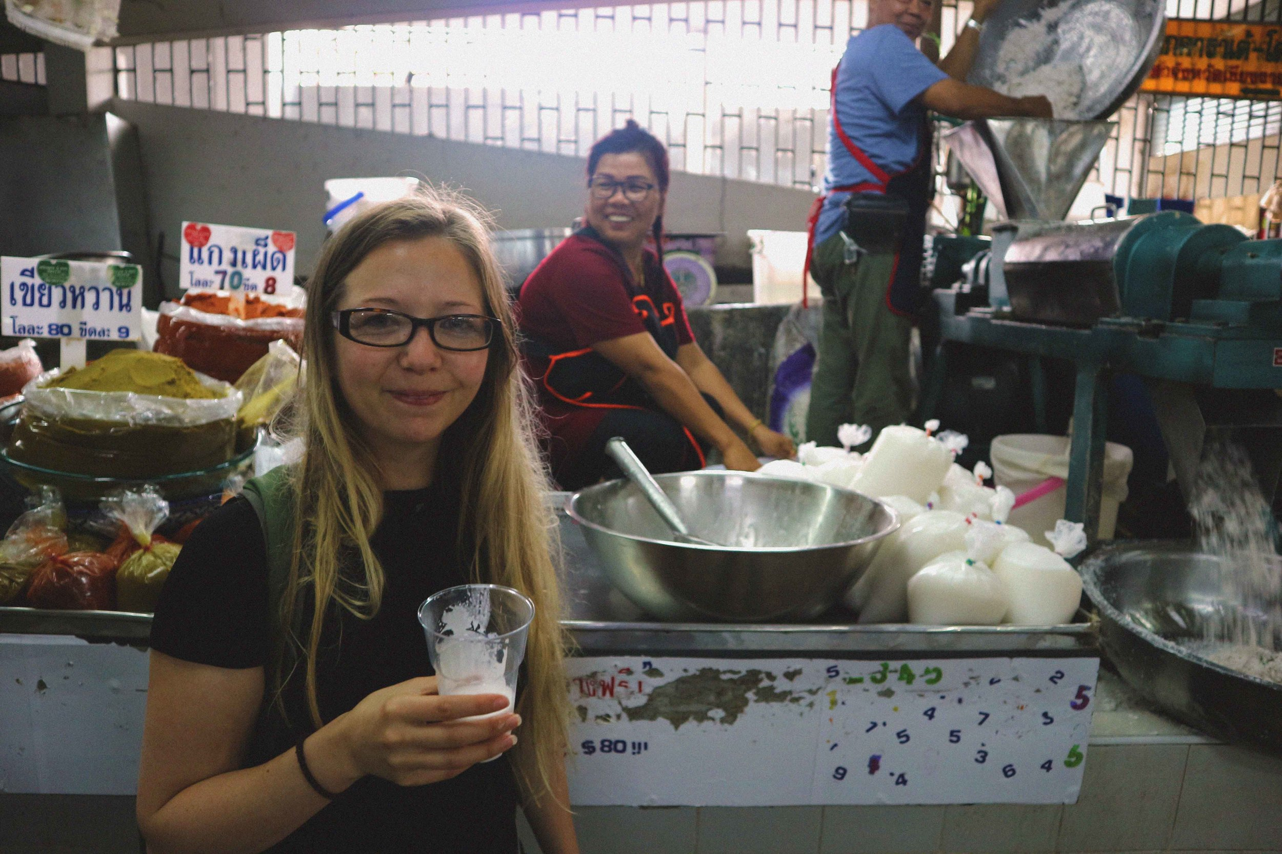 Ali enjoying some freshly squeezed coconut milk