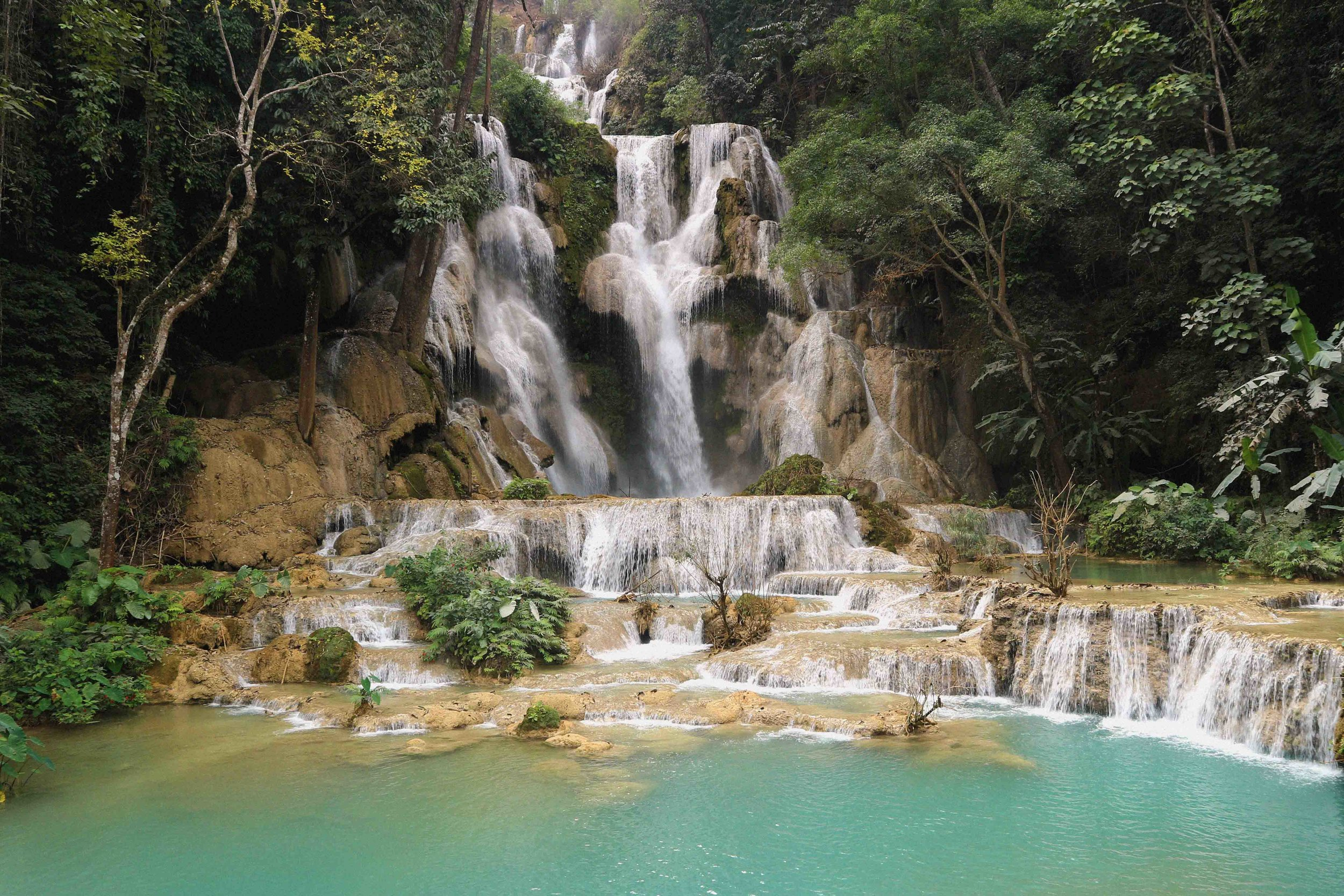 The stunning Kuang Si waterfalls