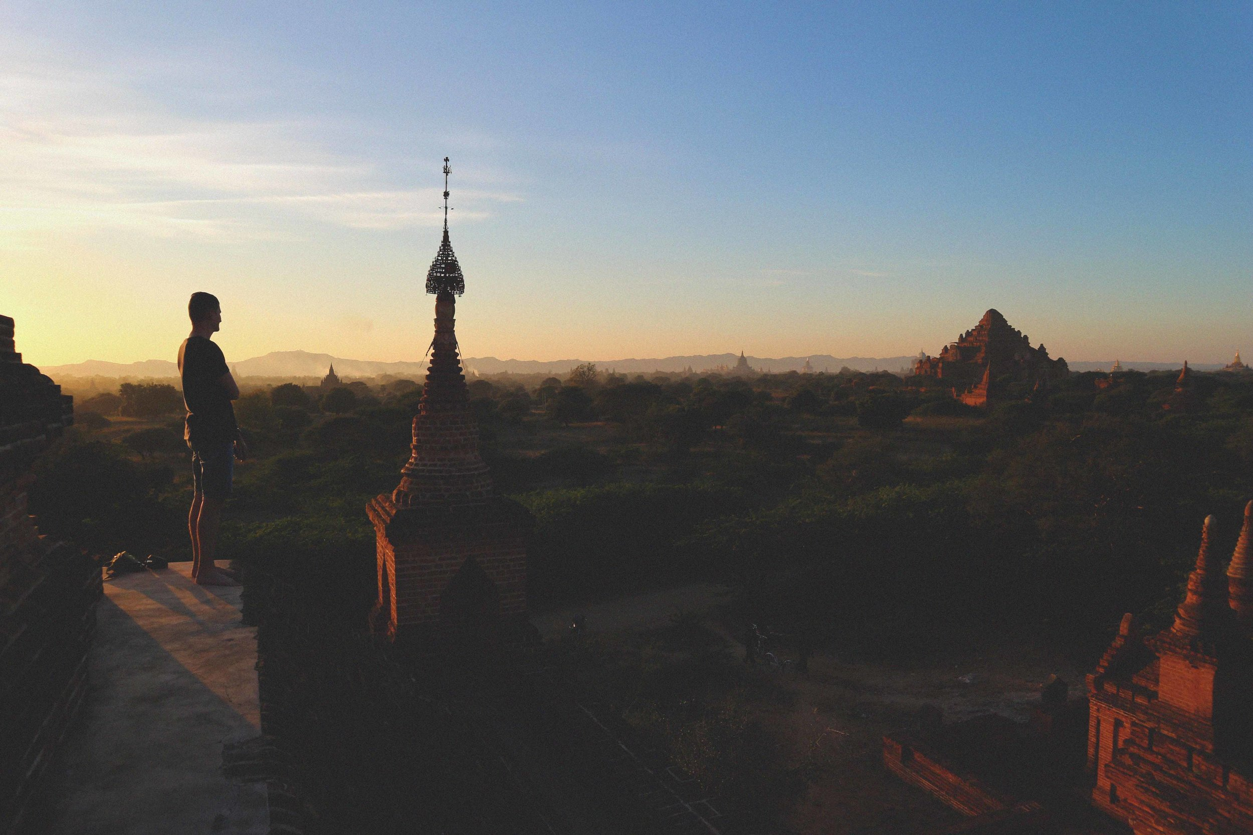 On one of the temple roofs watching a sunset