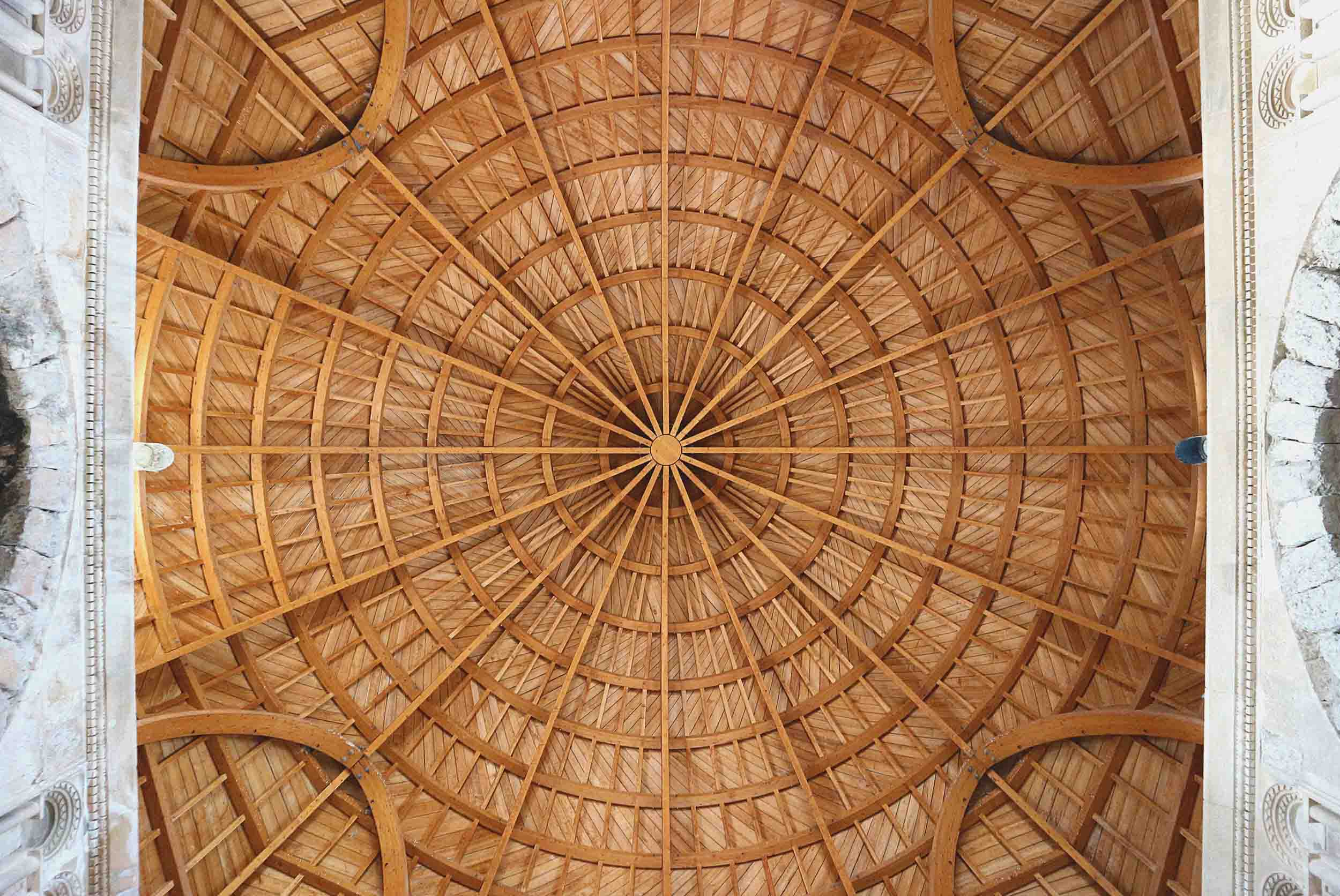 The stunning reconstructed roof on Umayyad Palace