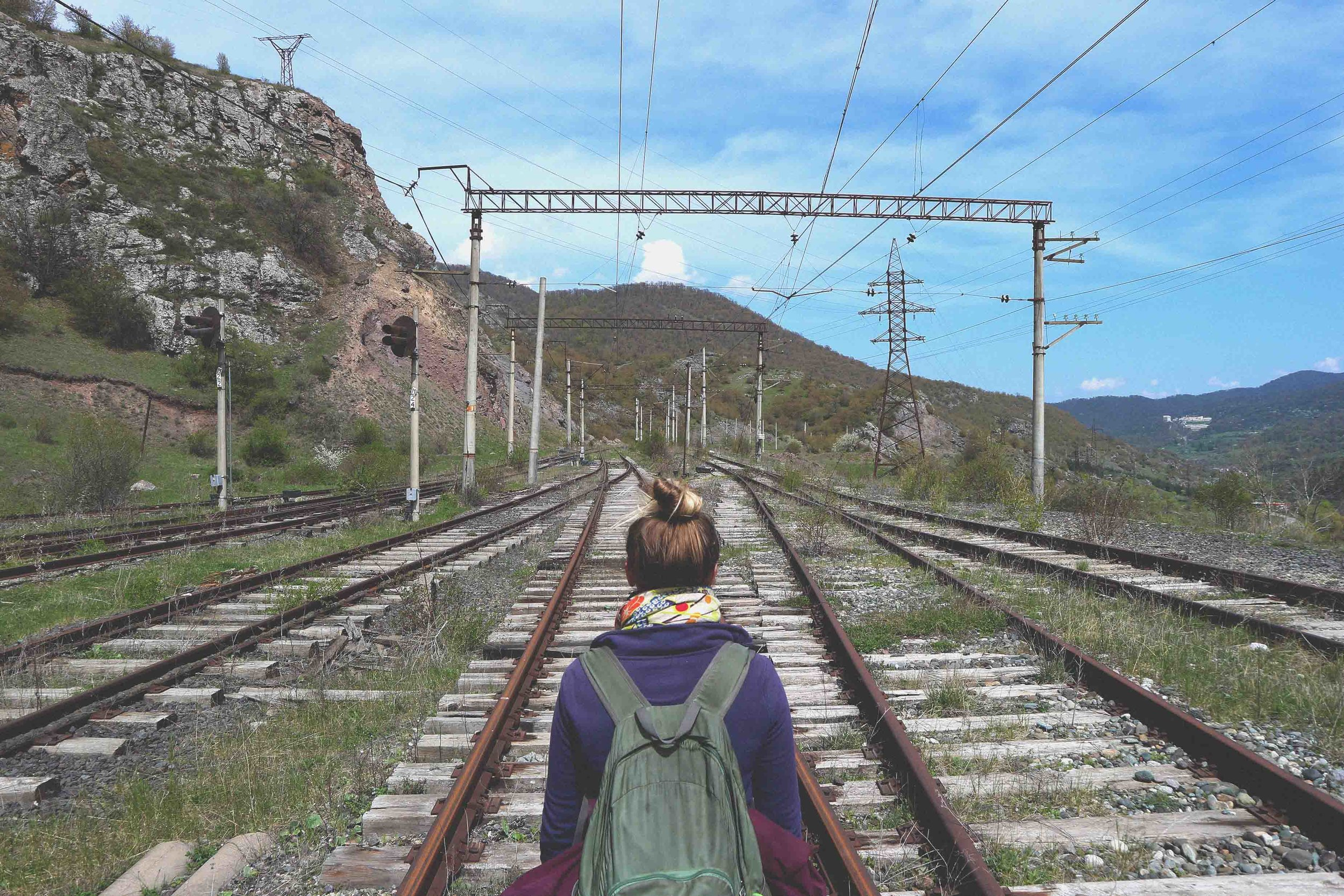 Here's Ali wondering down Dilijan's disused train line