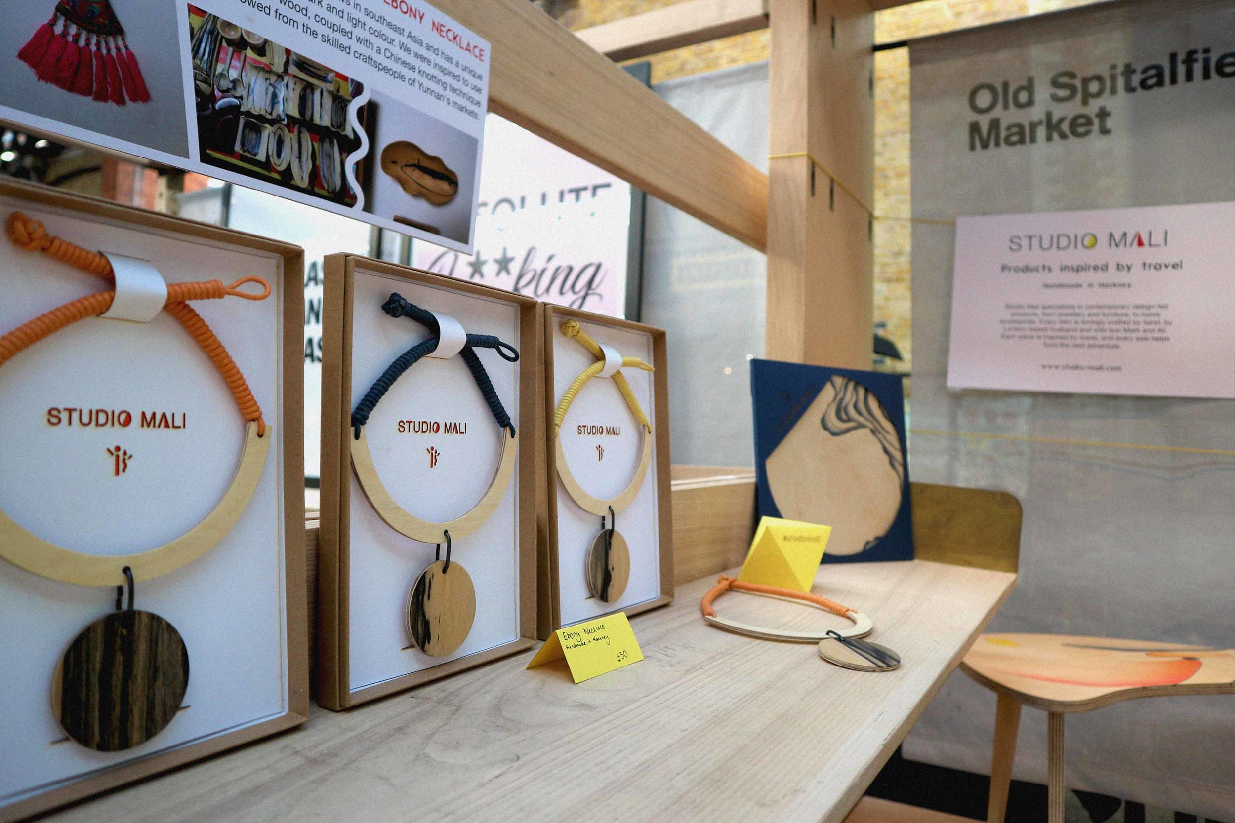 Our hand-made Ebony Necklaces displayed in their gift boxes, £55.