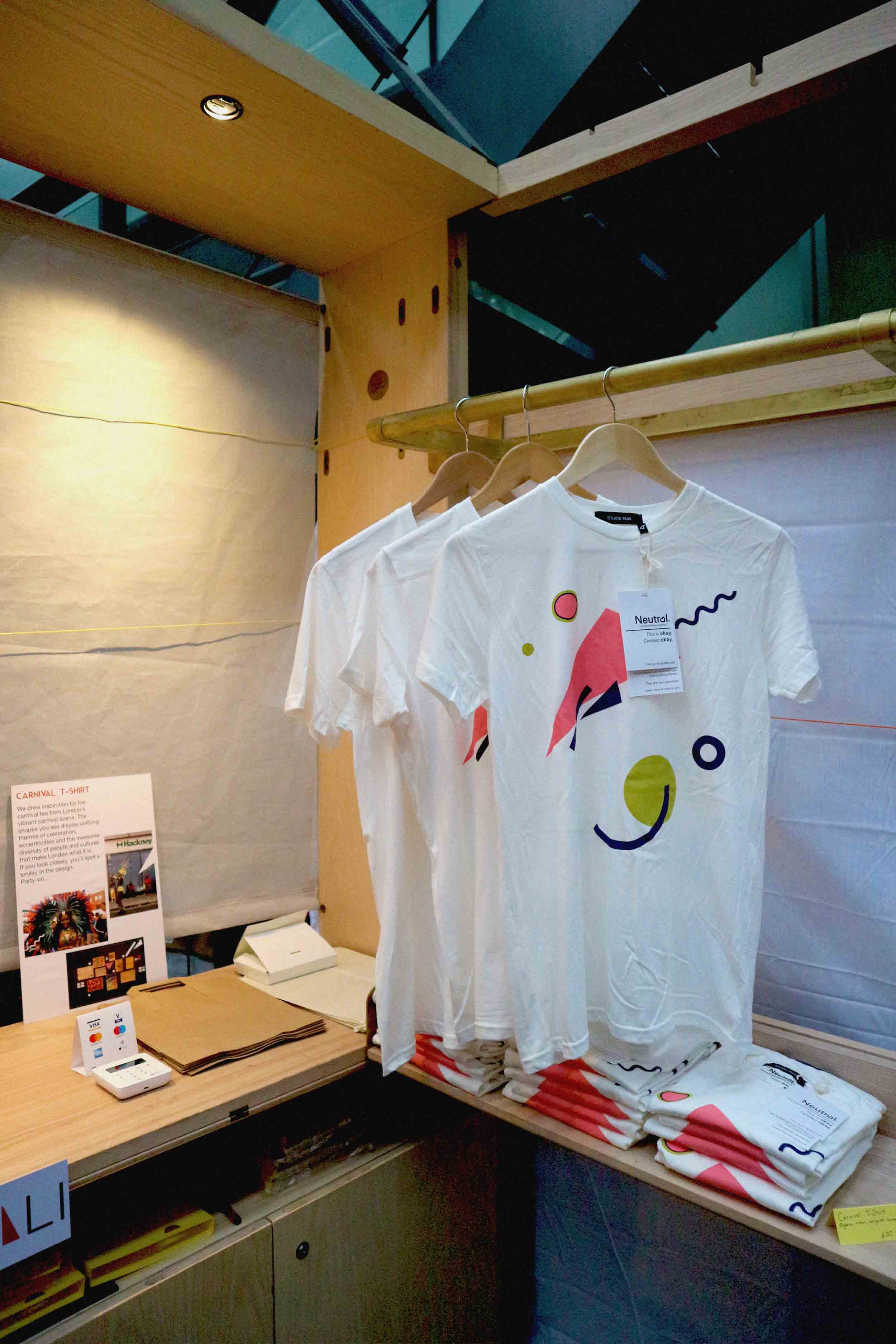 Carnival T-shirts ready for sale. Made from organic cotton, and made in carbon neutral factories powered by 70% wind power. £30 each.