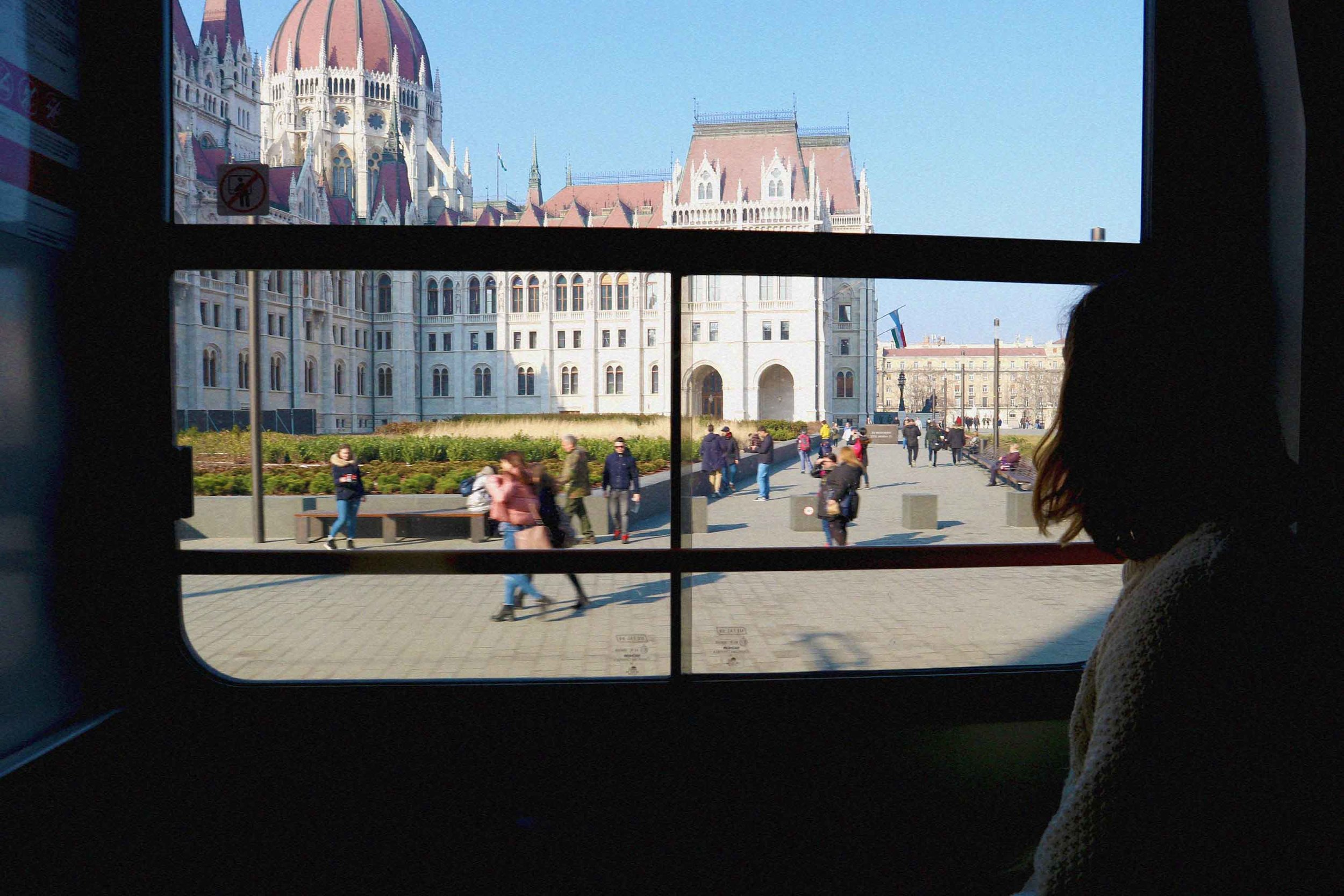 The view from the number 2 tram window of the Parliament building