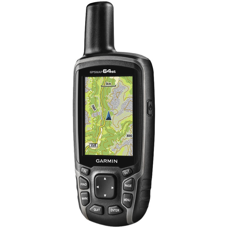 Bluetooth devices, like the  Trimble Leap  (top) and Trimble Catalyst, convert your phone into a GNSS receiver. The Garmin GPS line (bottom), like this  GPS Map 64ST CND , is a hand held device.