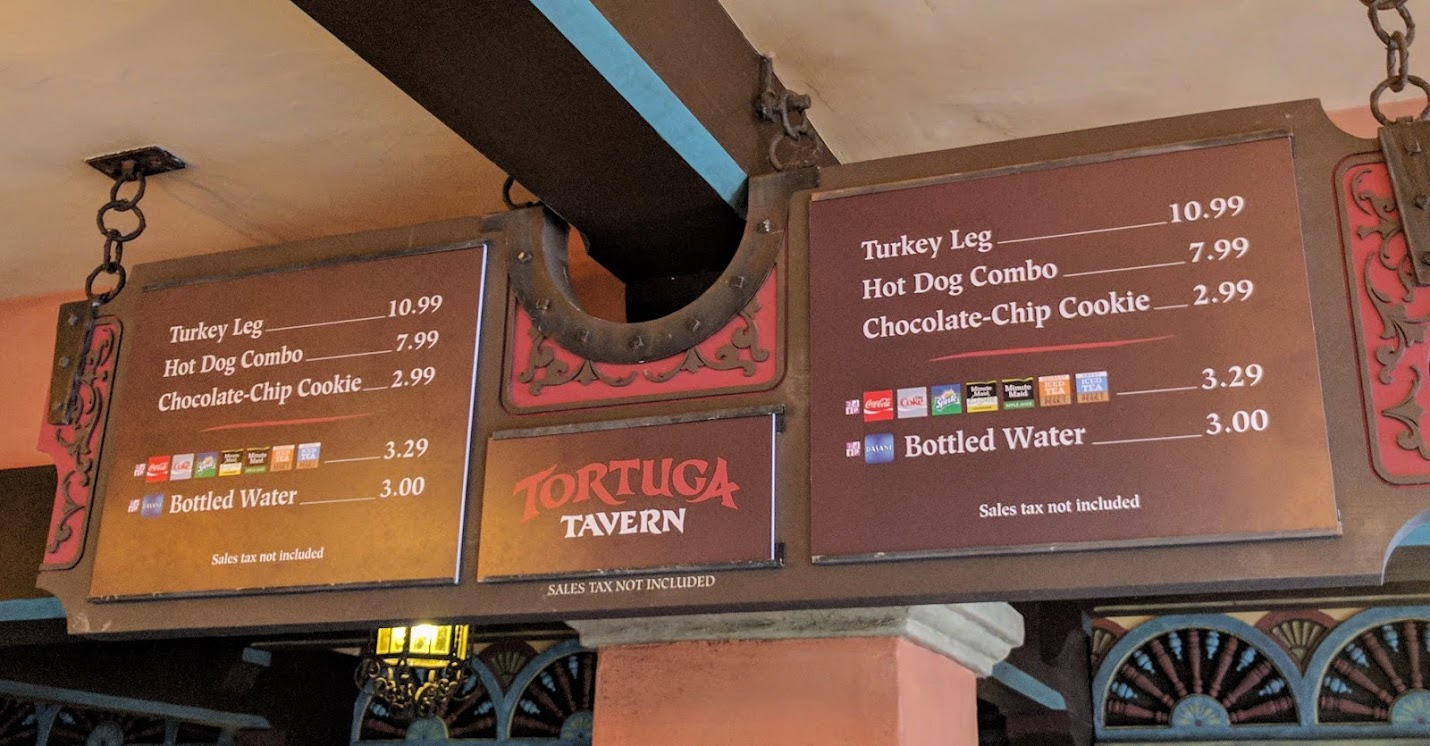 The menu and price list for this location.