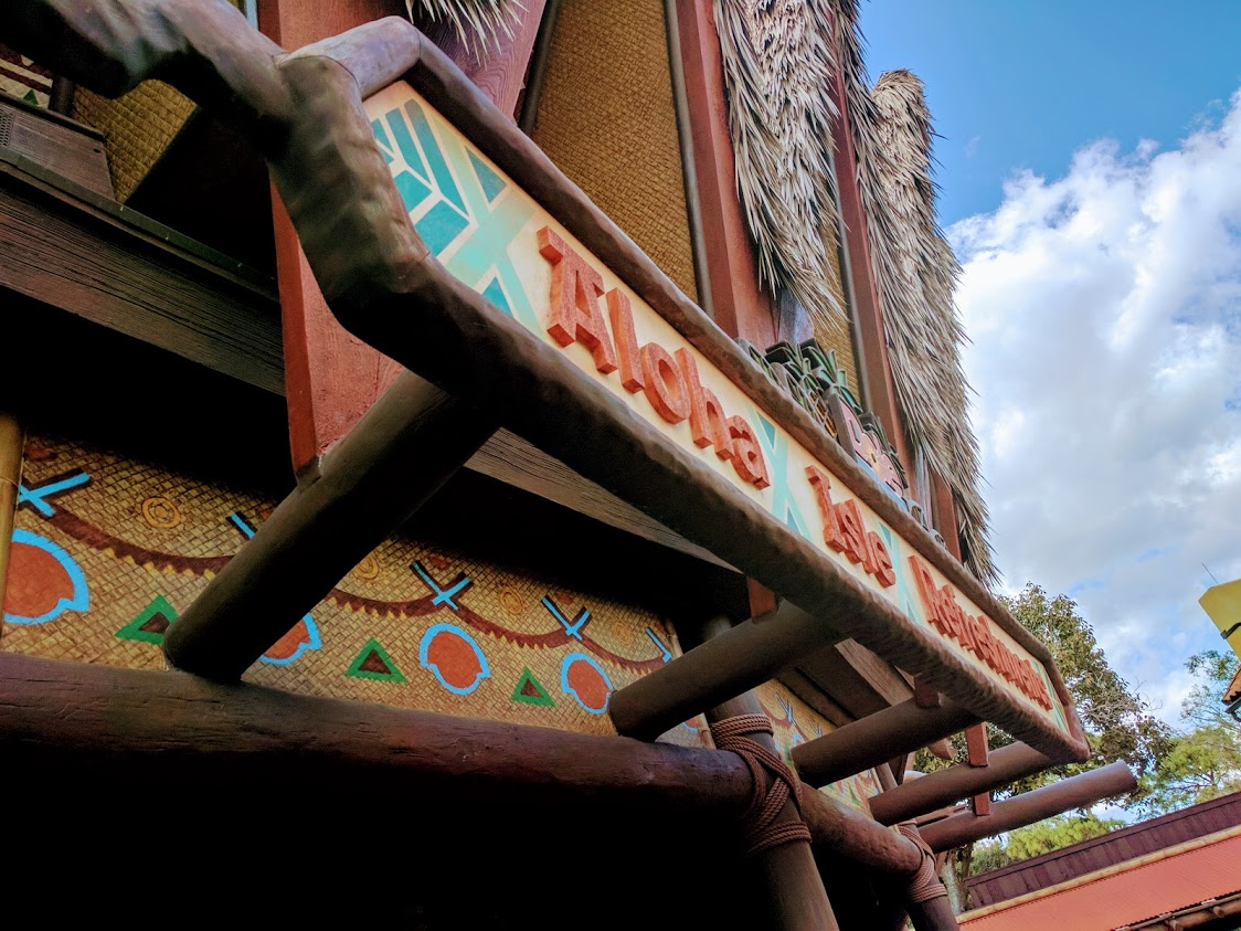 Aloha Isle Refreshments is located in Adventureland behind the flying carpets.