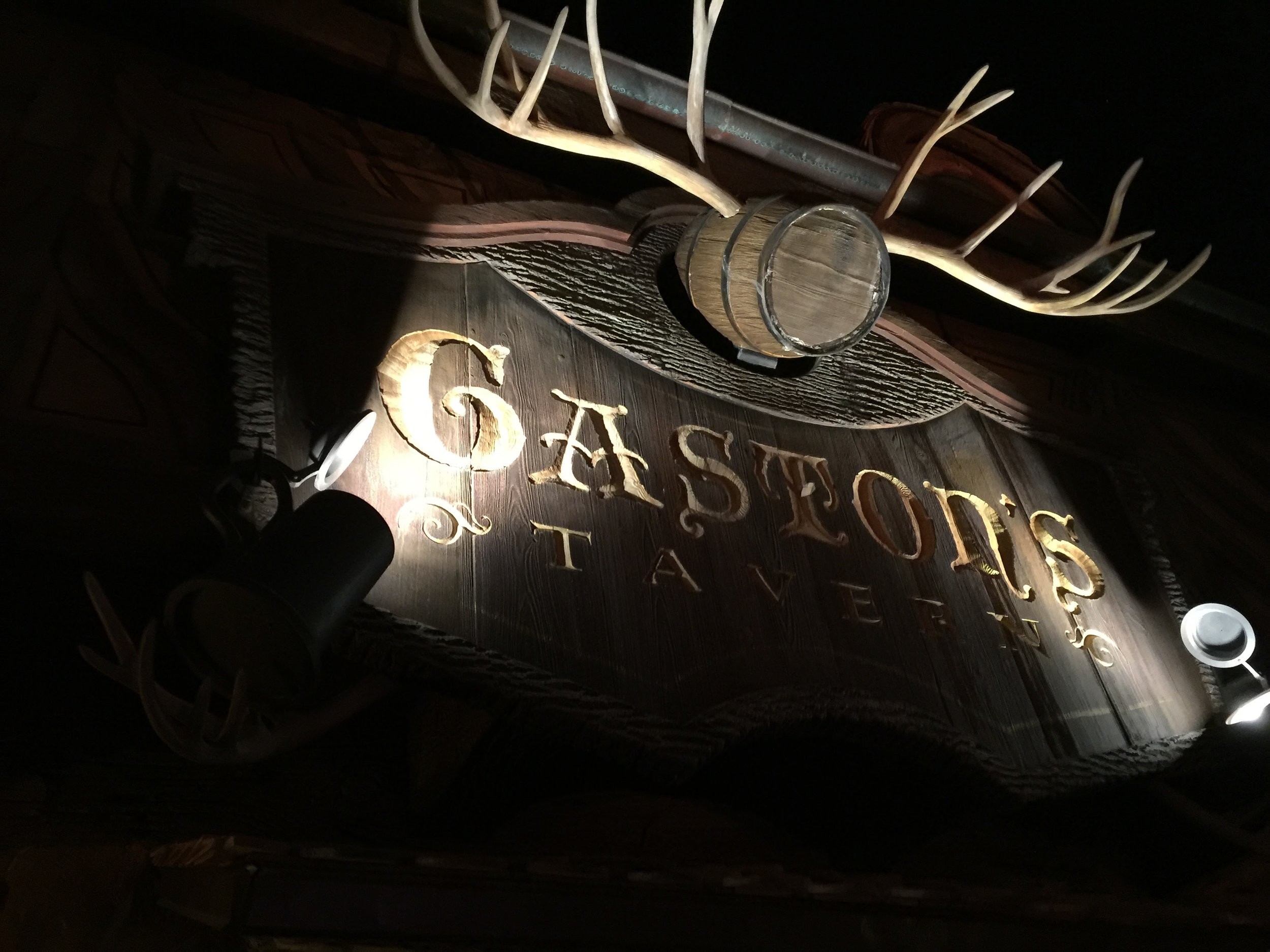 Gaston's Tavern is located in New Fantasyland in between Be Our Guest and Journey of the Little Mermaid.