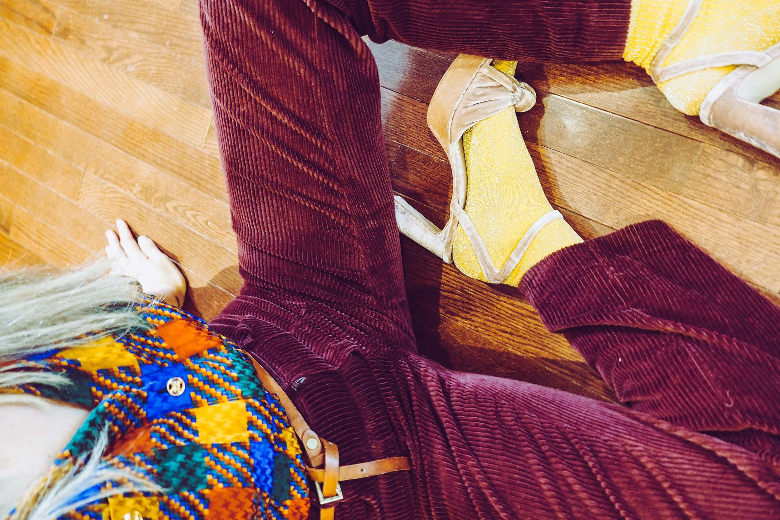 Blouse vintage Celine, shoes H&M, cords Zara, socks TopShop