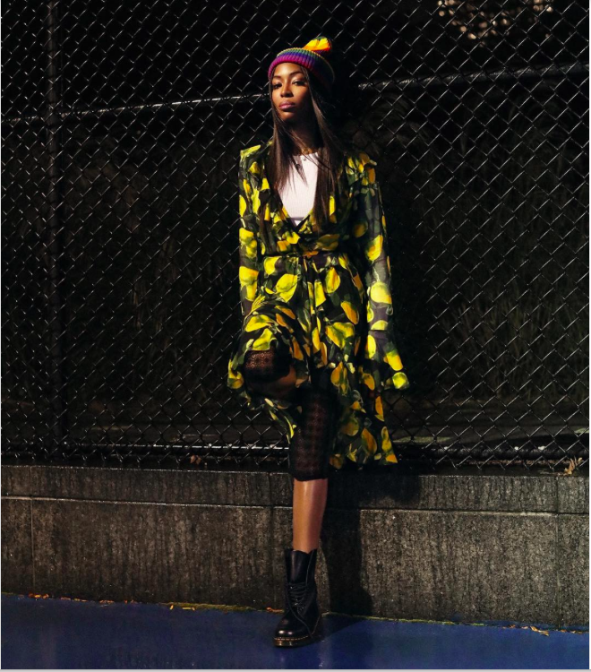 Naomi Campbell wearing the grunge look 25 years after she first wore it on the Perry Ellis runway