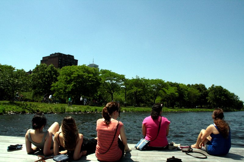 Lounging by the Charles Rives