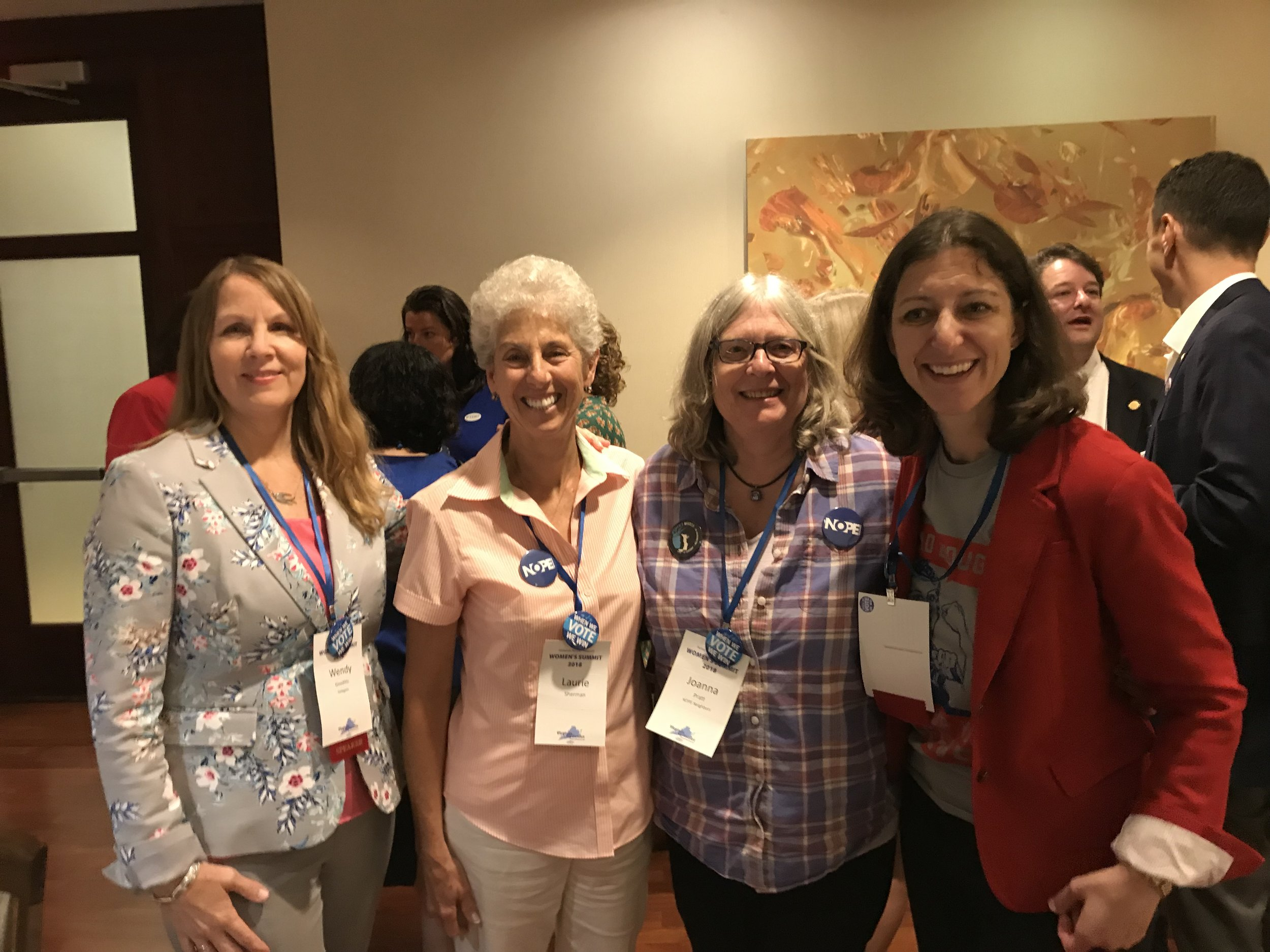 NOPE members at the Virginia Women's Summit with Wendy Gooditis (elected to the Virginia House of Delegates, 10th District, 2017) and Elaine Luria (elected to Congress in 2018).