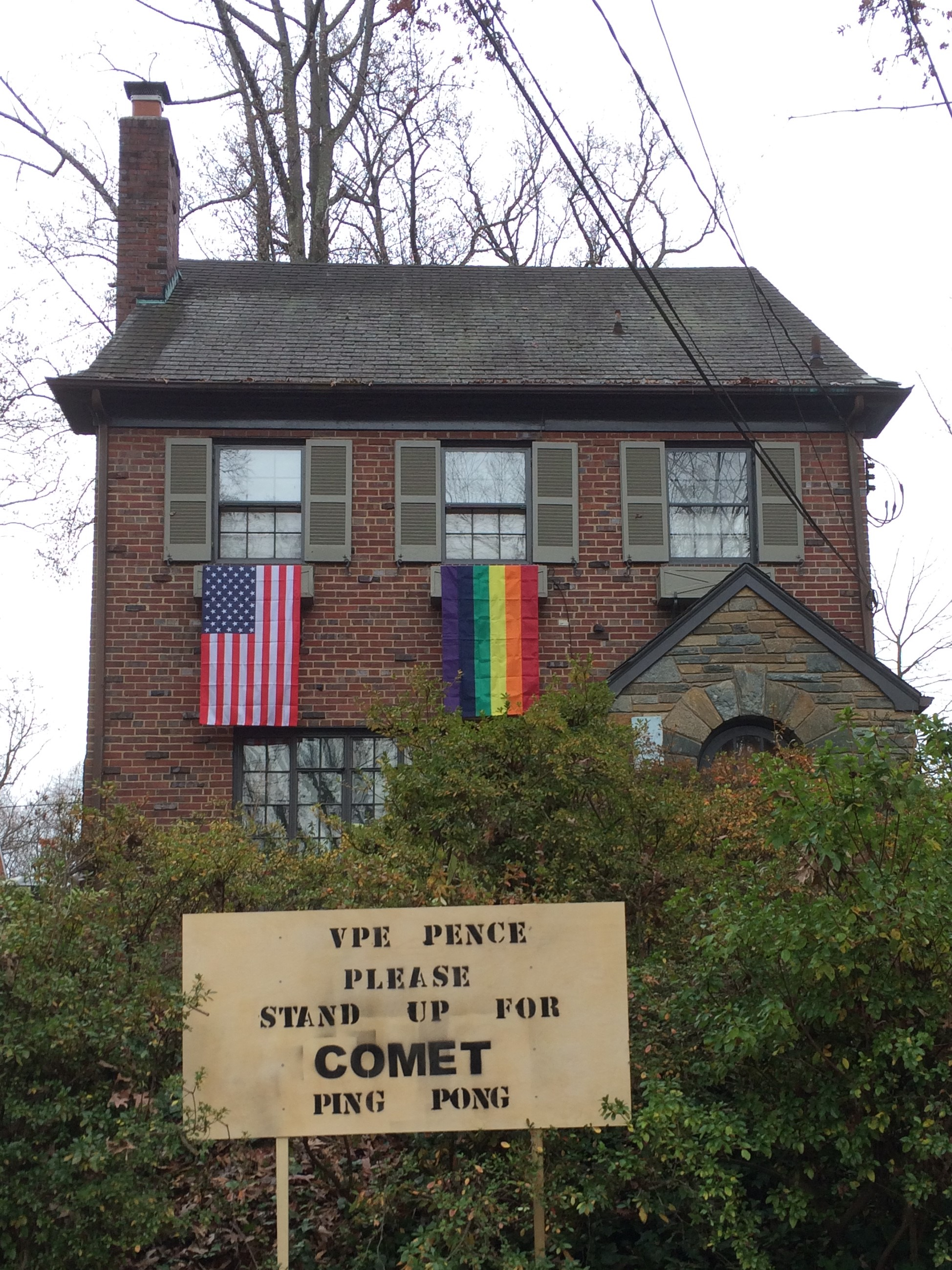 Chevy Chase DC neighbors flew more than 300 rainbow flags as a peaceful protest to Vice President-elect Mike Pence's LGBT policies….and asked him to show his support for Comet Ping Pong.