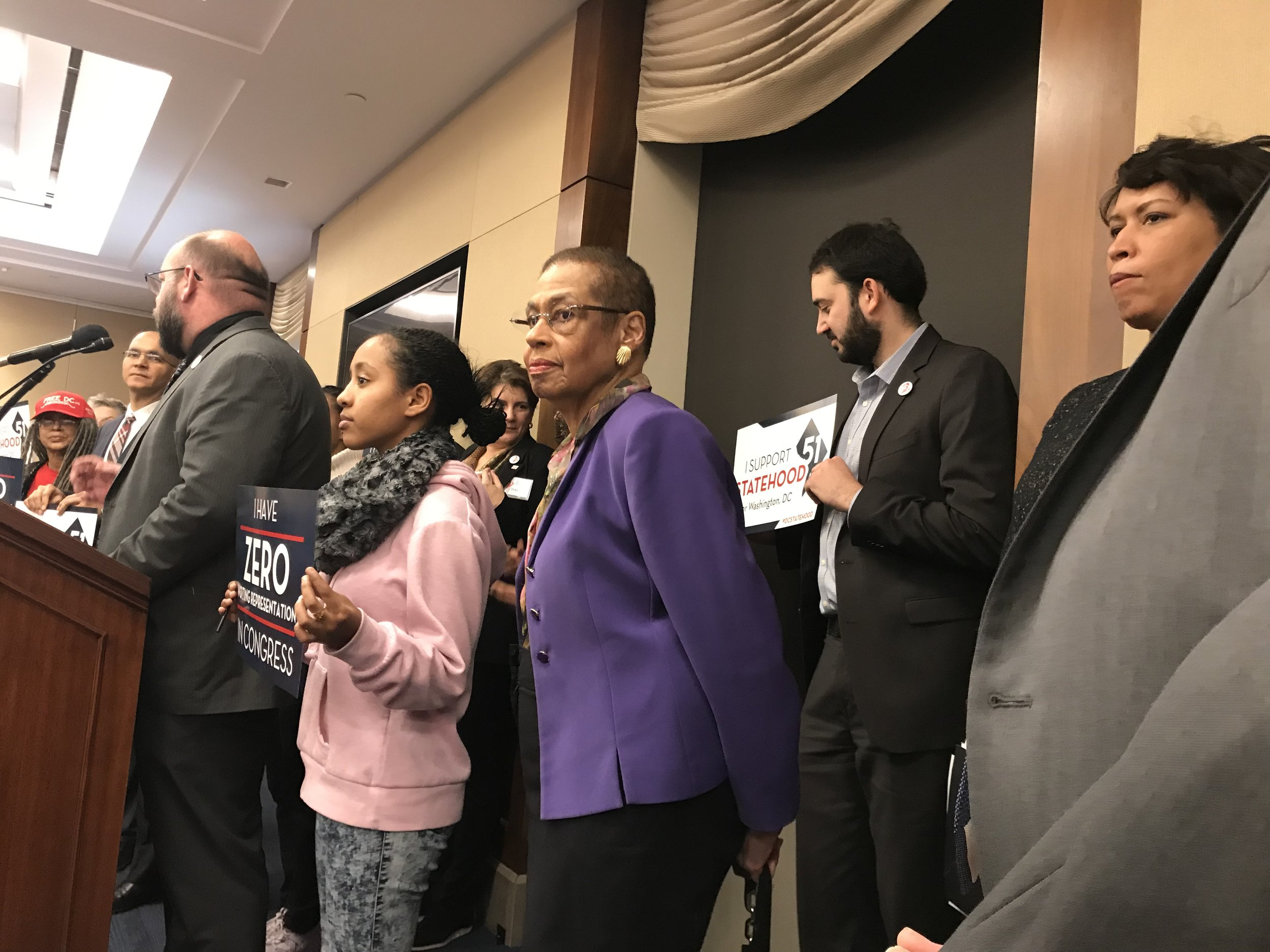Bo Shuff (DC Vote), Eleanor Holmes Norton, and Mayor Bowser and getting us ready to lobby for DC statehood. (February 2019)