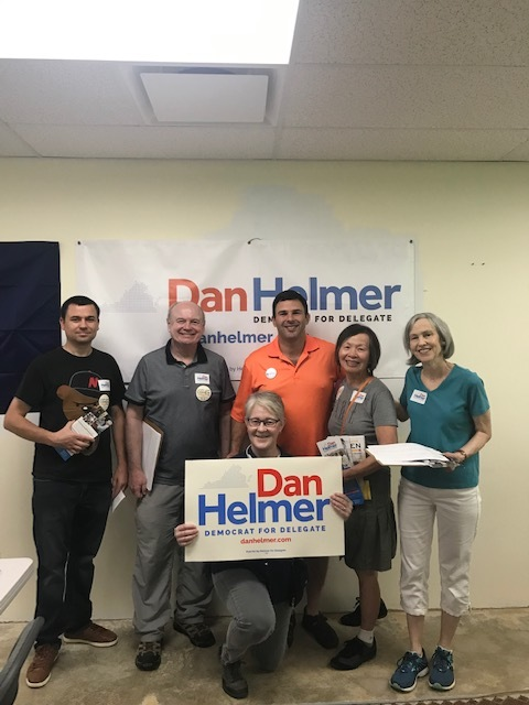 One of ouur first canvasses of the 2019 season. NOPEsters and friends from Ward 3 Dems knocked doors for Dan Helmer (in the orange shirt), who is running for House of Delegates in Virginia's 40th District in Fairfax and Prince William Counties. (July 2019)