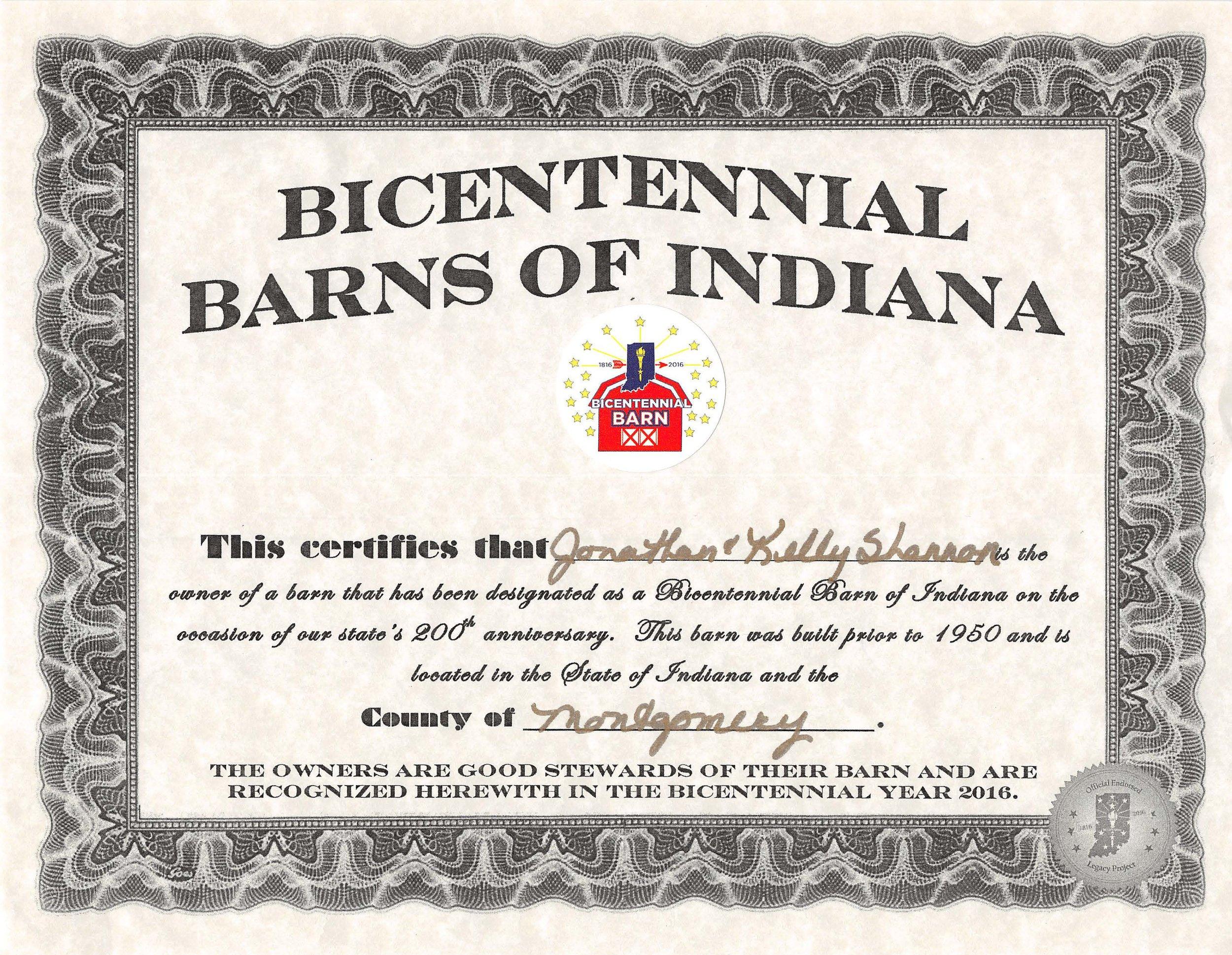 Bicentennial Barns of Indiana