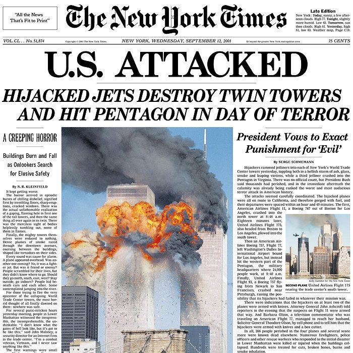 New York Times front page Sept. 12, 2001