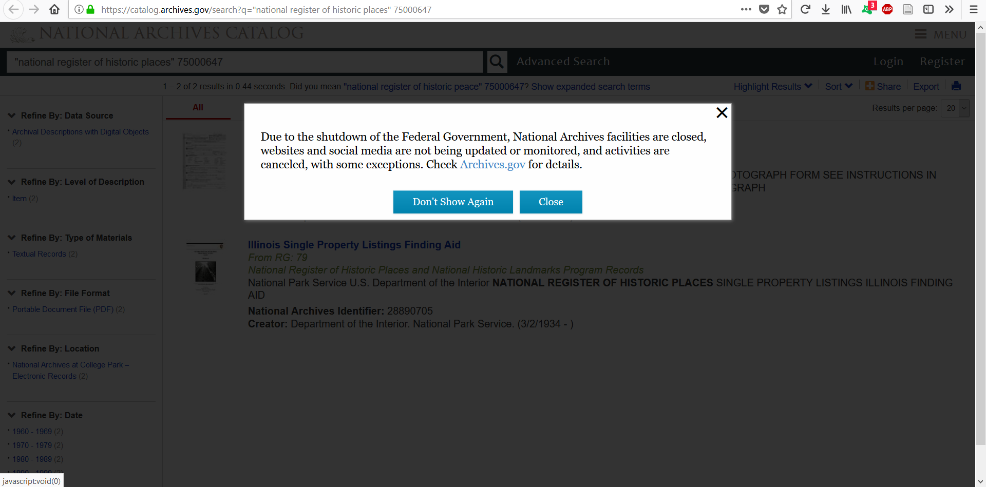 A screenshot of the warning message that appeared on the National Archives Catalog website during the government shutdown.