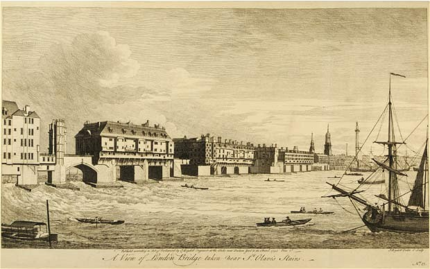 London Bridge from the Southwark side, c 1751  (source: telegraph.co.uk)