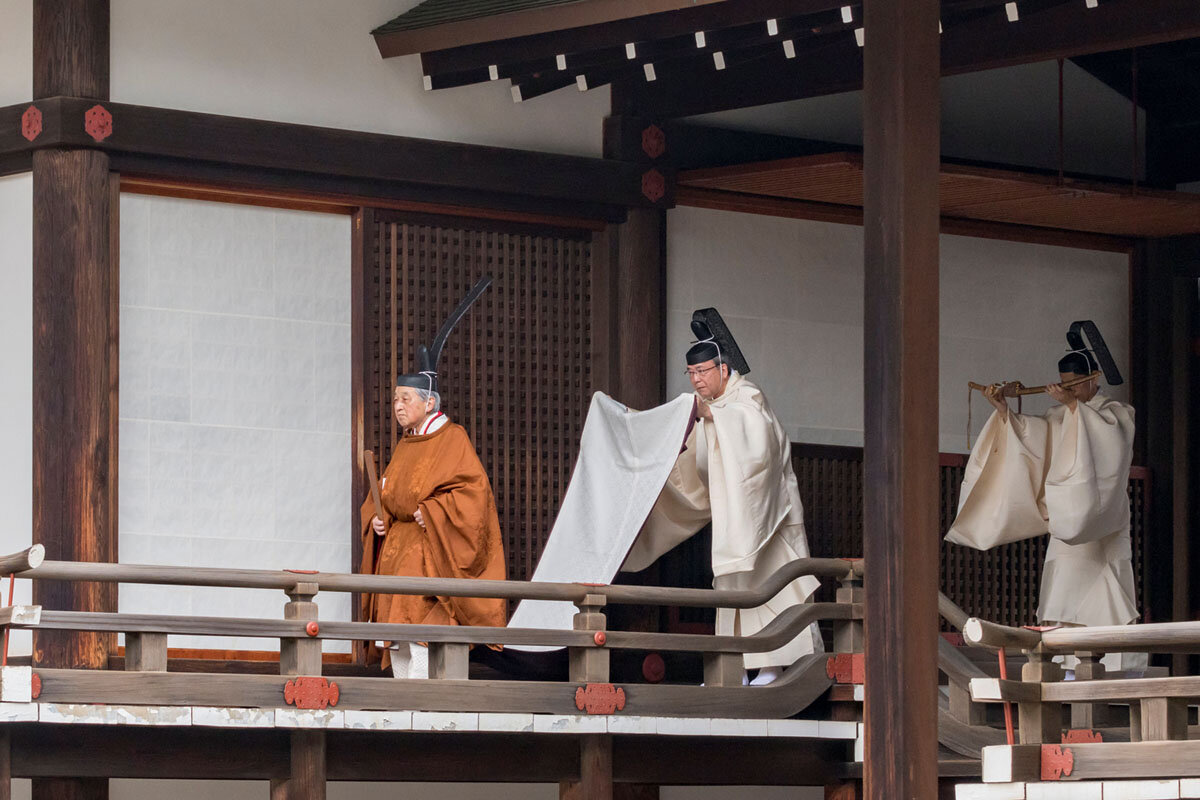 Emperor Akihito walks during a ritual called Taiirei Tojitsu Kashikodokoro Omae no Gi, a ceremony for the emperor to report the abdication ceremony to the goddess Amaterasu, at the Imperial Palace in Tokyo, Japan, on April 30, 2019.