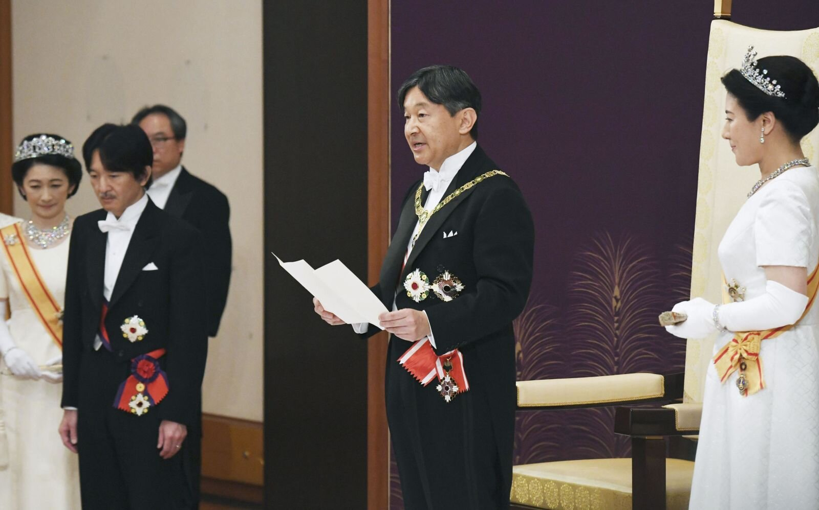 Naruhito delivers his first speech after his ascension to the throne on May 1.