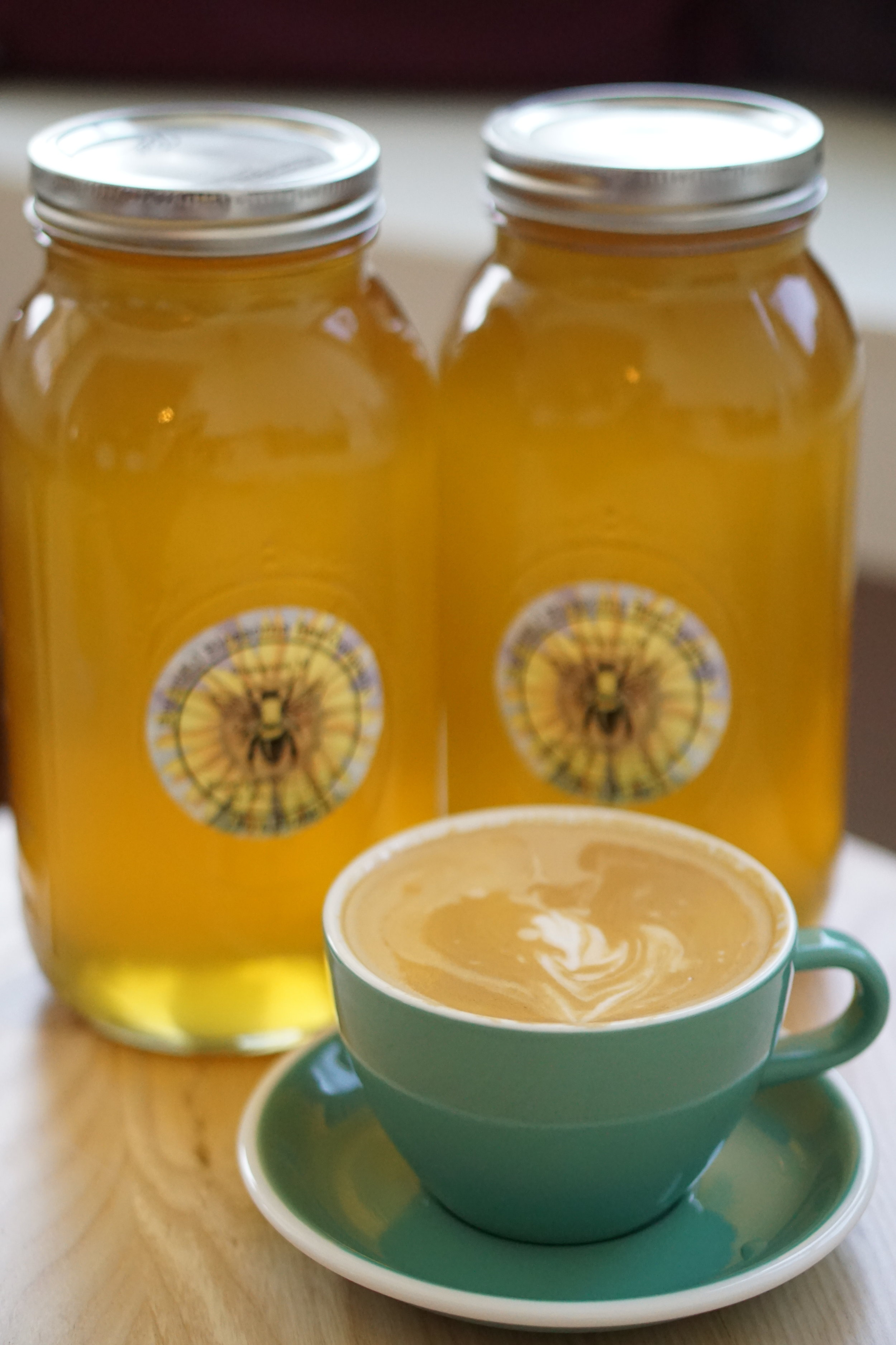 Cafe con Miel at Myrtle and Cypress Coffeehouse with Bountiful Blossoms Bee Company honey