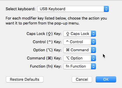 Swap Option Key and Command Key definitions: