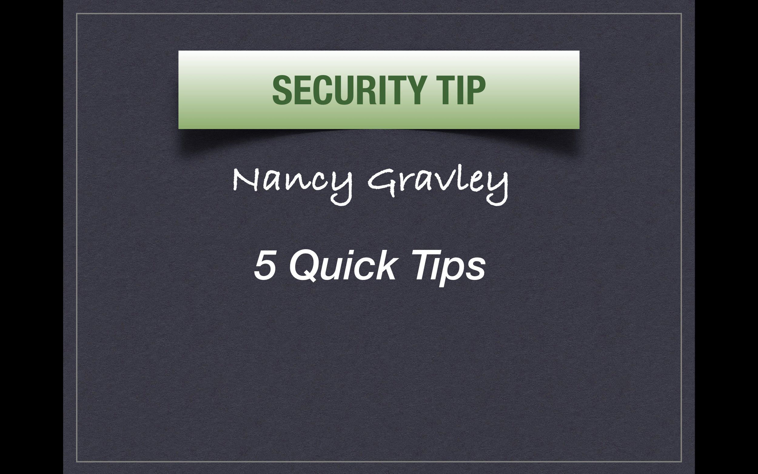 5 Quick Security Tips Title Page