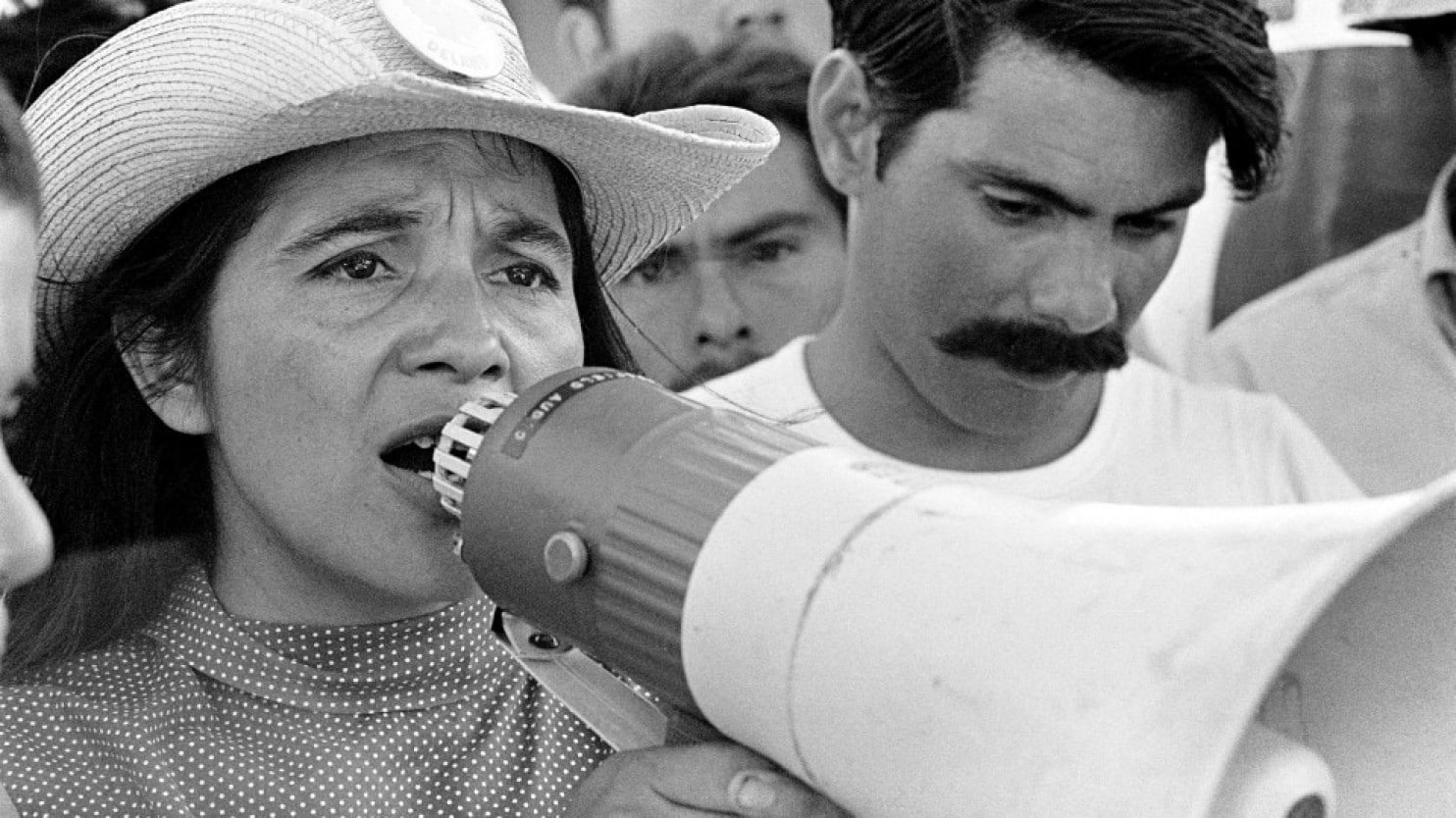Dolores Huerta, organizing marchers on second day of March Coachella in 1969. (George Ballis/Take Stock / The Image Works/PBS Distribution)