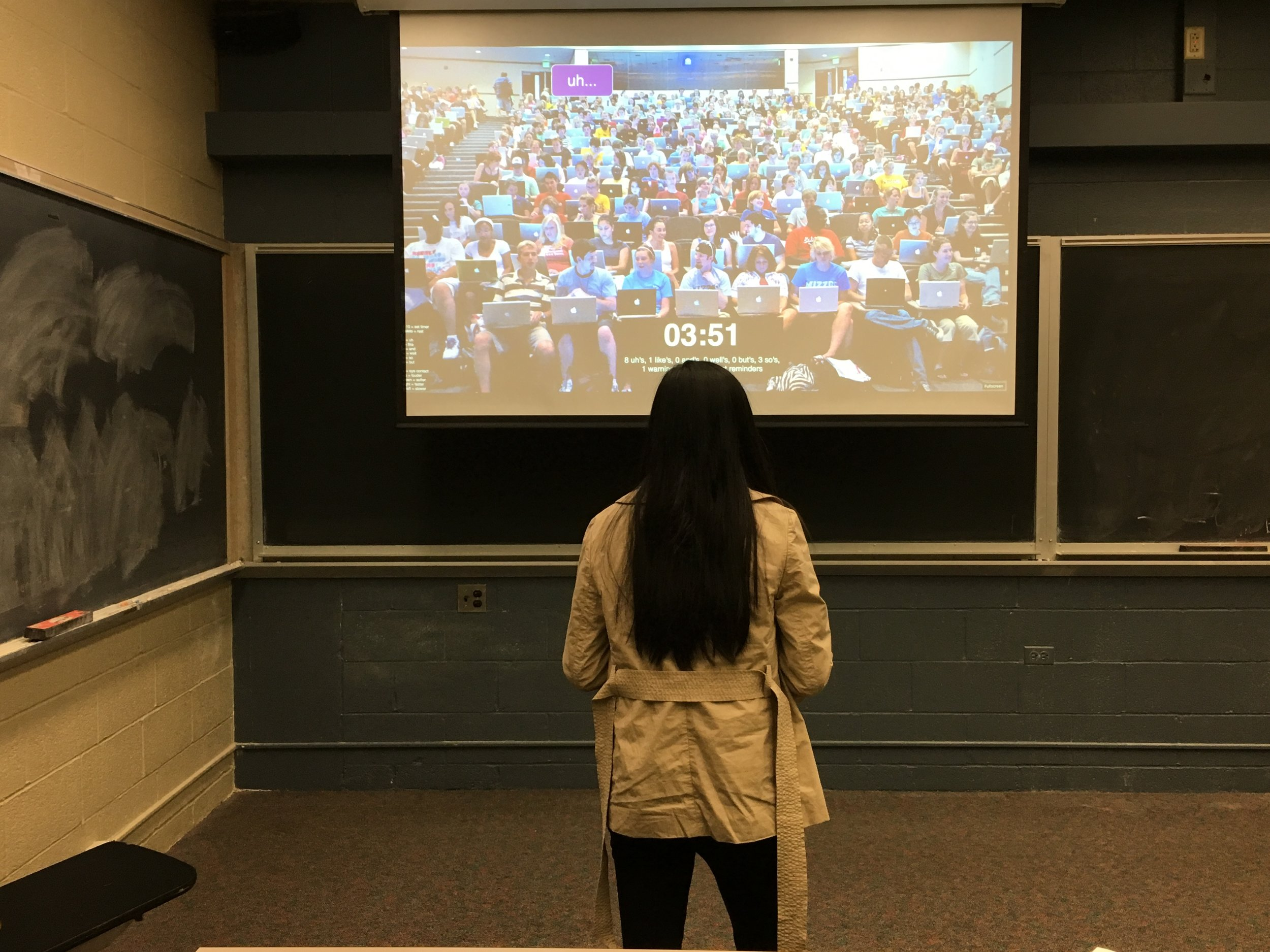 student gives a practice presentation and receives live feedback