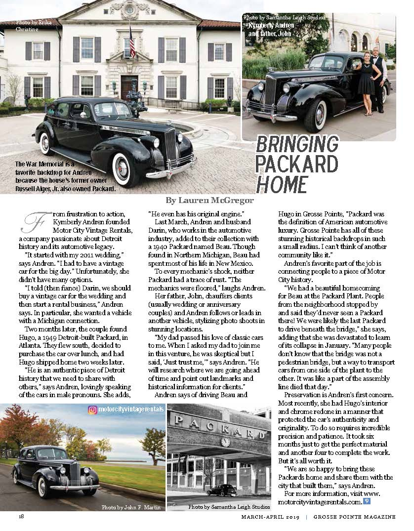 """A COMPANY PASSIONATE ABOUT DETROIT HISTORY AND ITS AUTOMOTIVE LEGACY."" - - GROSSE POINTE MAGAZINE"