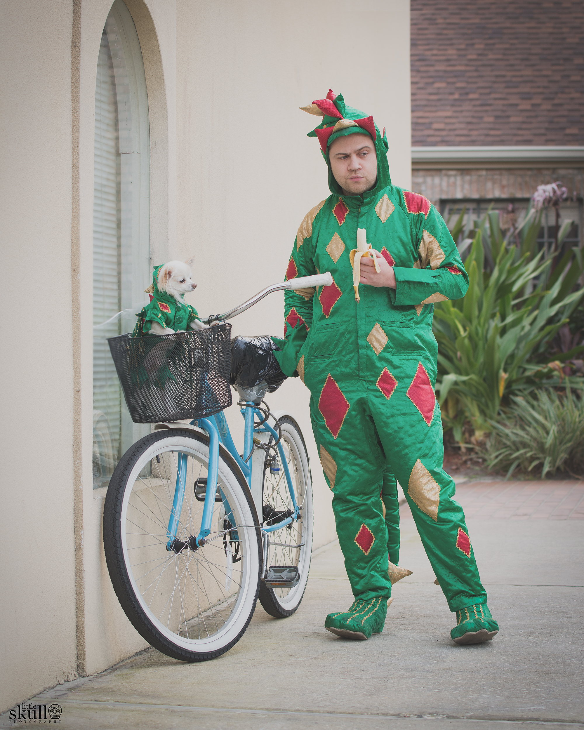 Piff the Magic Dragon and Mr. Piffles pose next to a Bike in Tampa, FL for Little Skull Photography