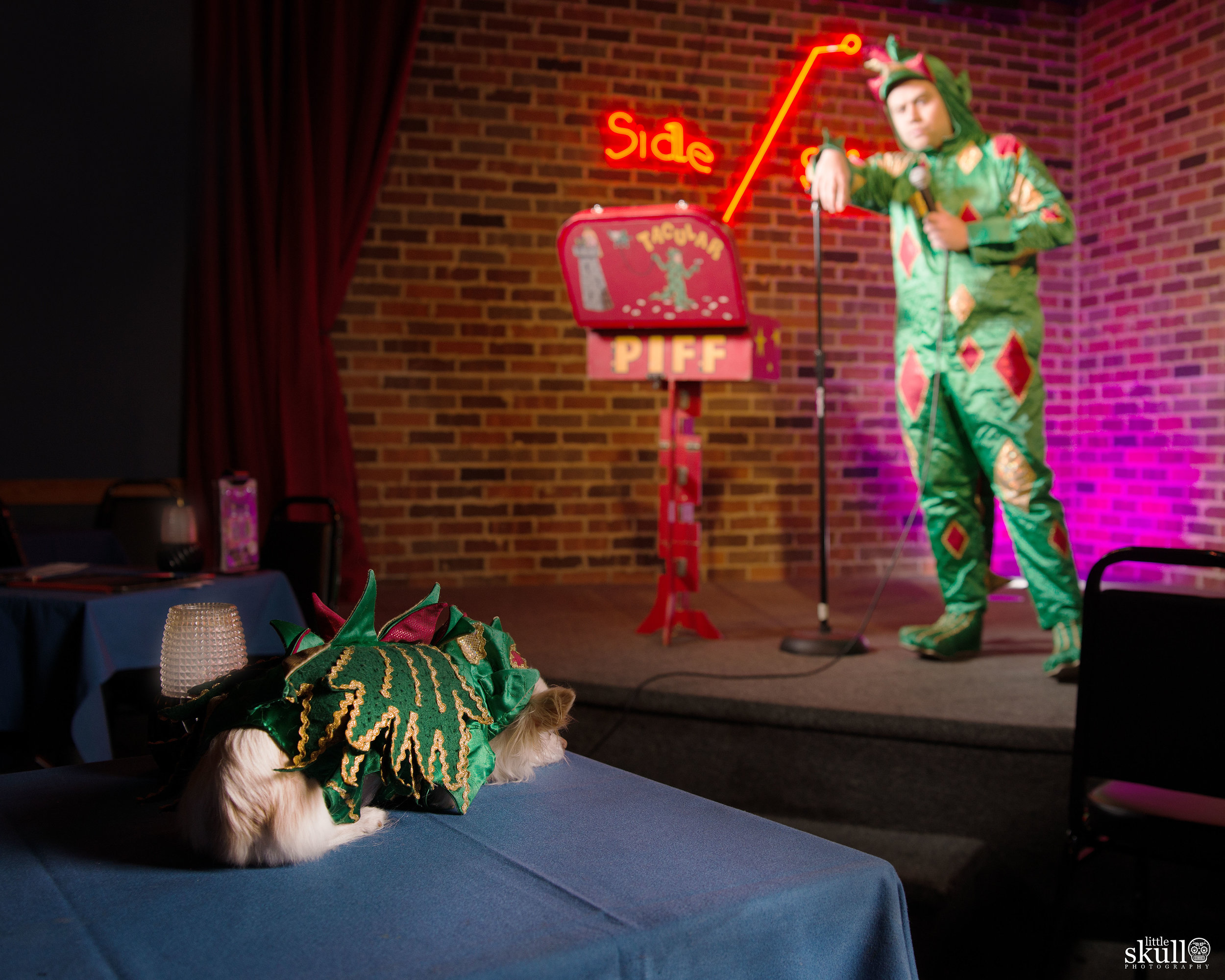 Piff the Magic Dragon preforms on stage for Mr. Piffles by Little Skull Photography