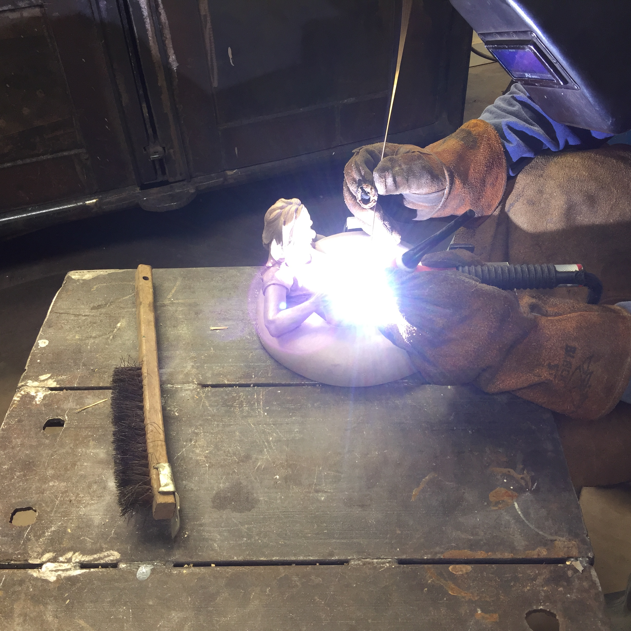 Tig welding damaged areas with bronze filler rod.
