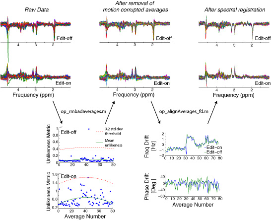 Processing of localized GABA MR spectroscopy data, including removal of motion corrupted averages, and frequency and phase drift correction.