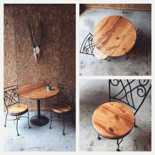 $ Inquire   Patio set! Ornate chair and table bases with beautiful salvaged wood grain tops. Perfect for indoors or in a garden.