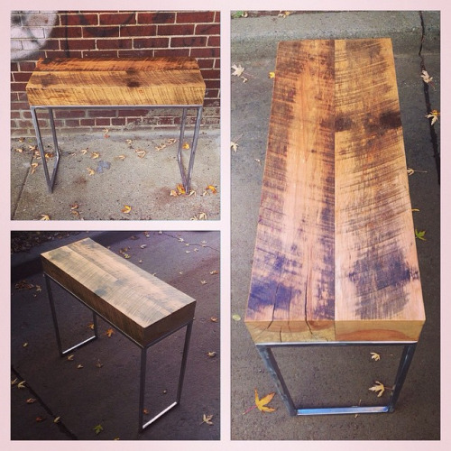$ Inquire   Tall bench entrance bench. Satisfyingly thick slab of salvaged wood on top of salvaged metal legs.