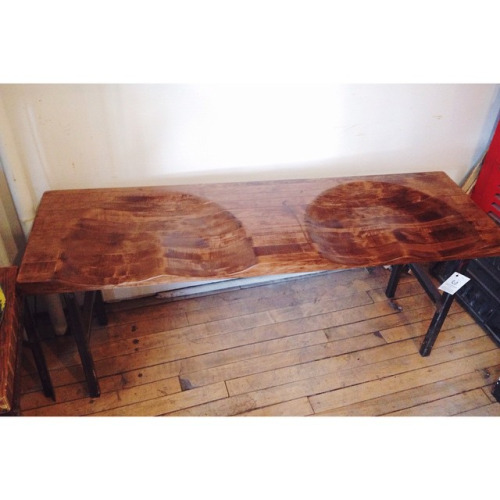 $ Inquire   Oh so comfortable bum bench, hand carved out of solid wood with salvaged metal legs. A favorite at our store!