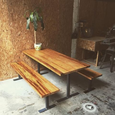 $ Inquire   Bench set for the dining room or patio. Thick cuts of salvaged wood with salvaged metal for the legs, the pieces slide into the table to save space.